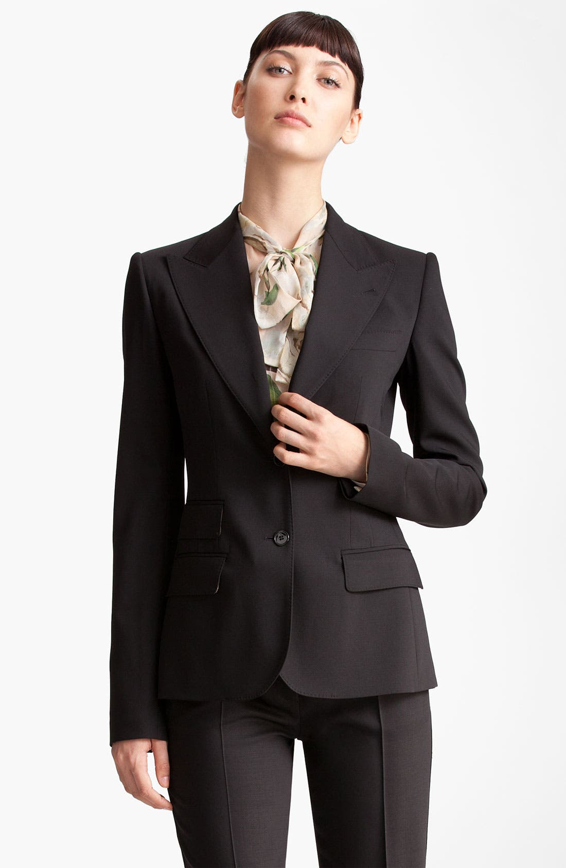 Two Button Stretch Wool Jacket,                         Main,                         color, BLACK