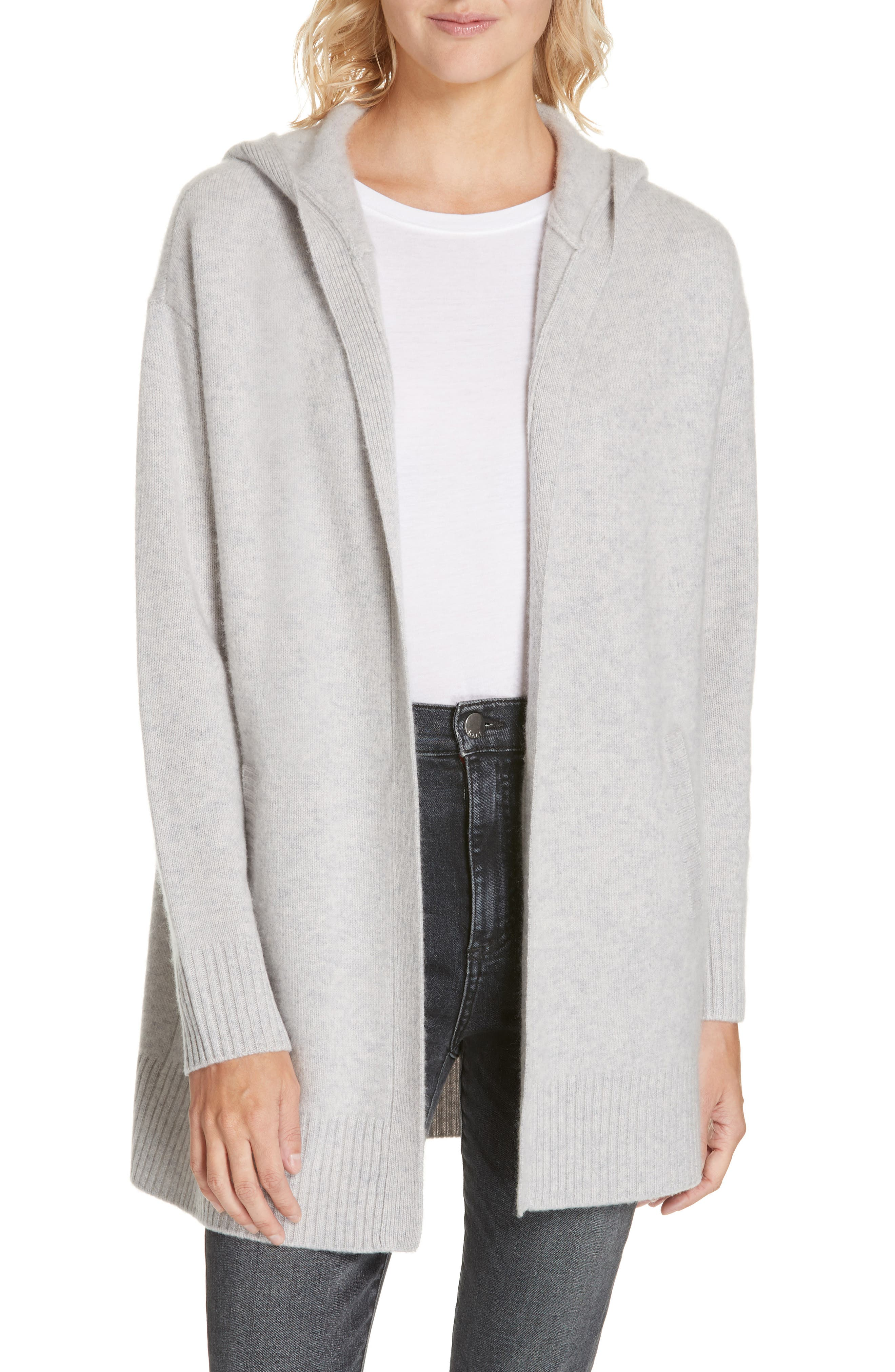 NORDSTROM SIGNATURE,                             Hooded Boiled Cashmere Cardigan,                             Main thumbnail 1, color,                             GREY CLAY HEATHER