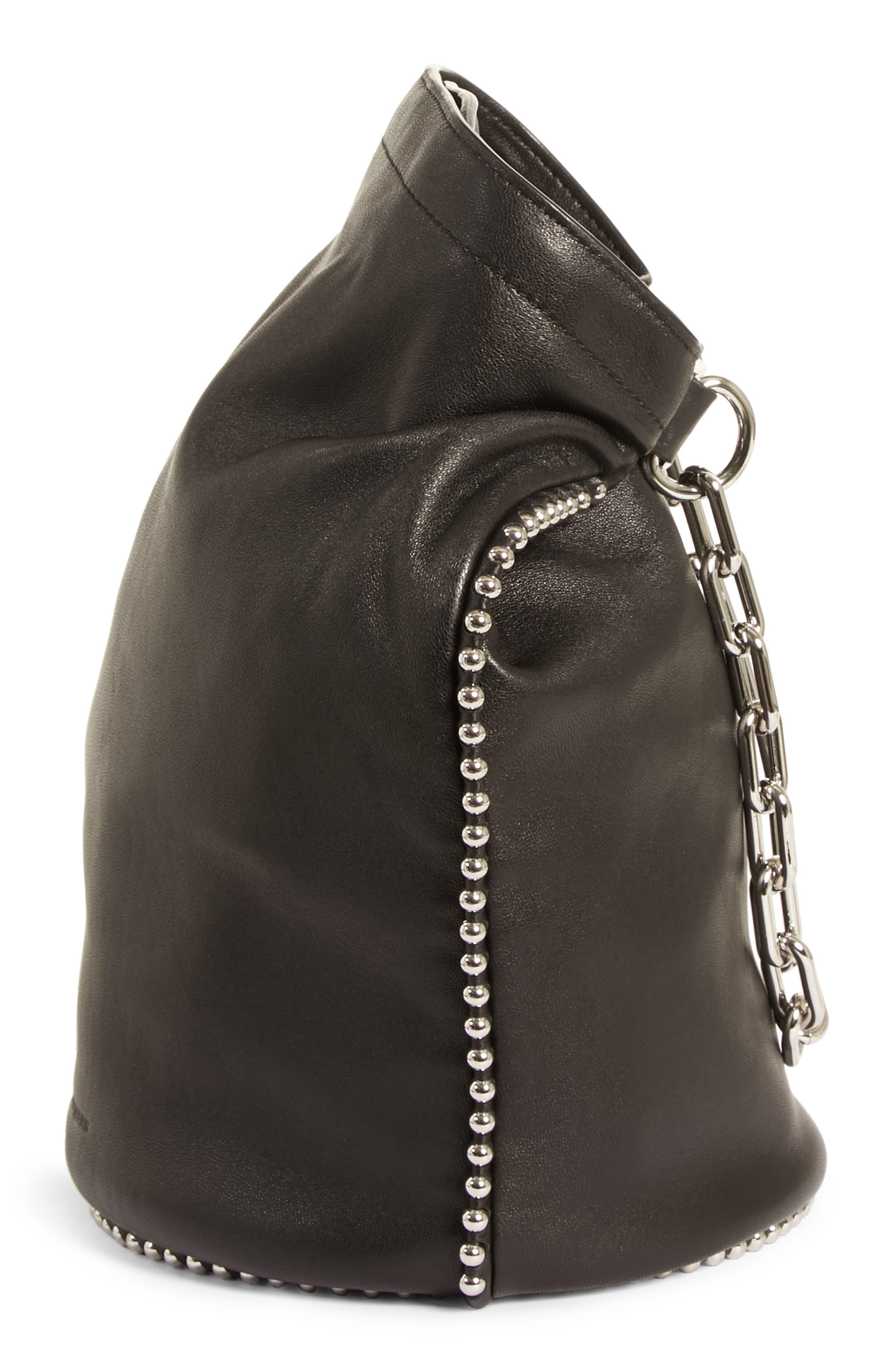 Attica Dry Sack Leather Bucket Bag,                             Alternate thumbnail 6, color,                             BLACK