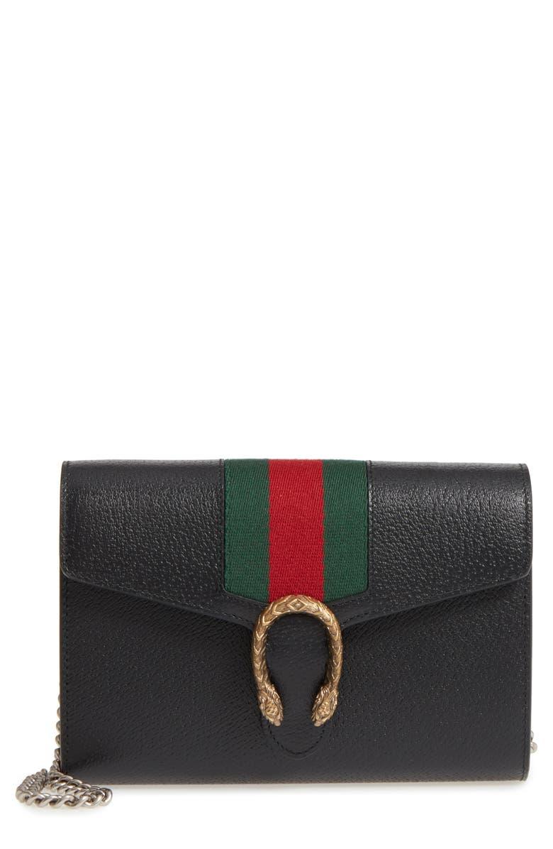 cf83acf4691 Gucci Dionysus Stripe Leather Wallet On A Chain Nordstrom. Gucci Dionysus  Leather Mini Chain Bag Black 401231
