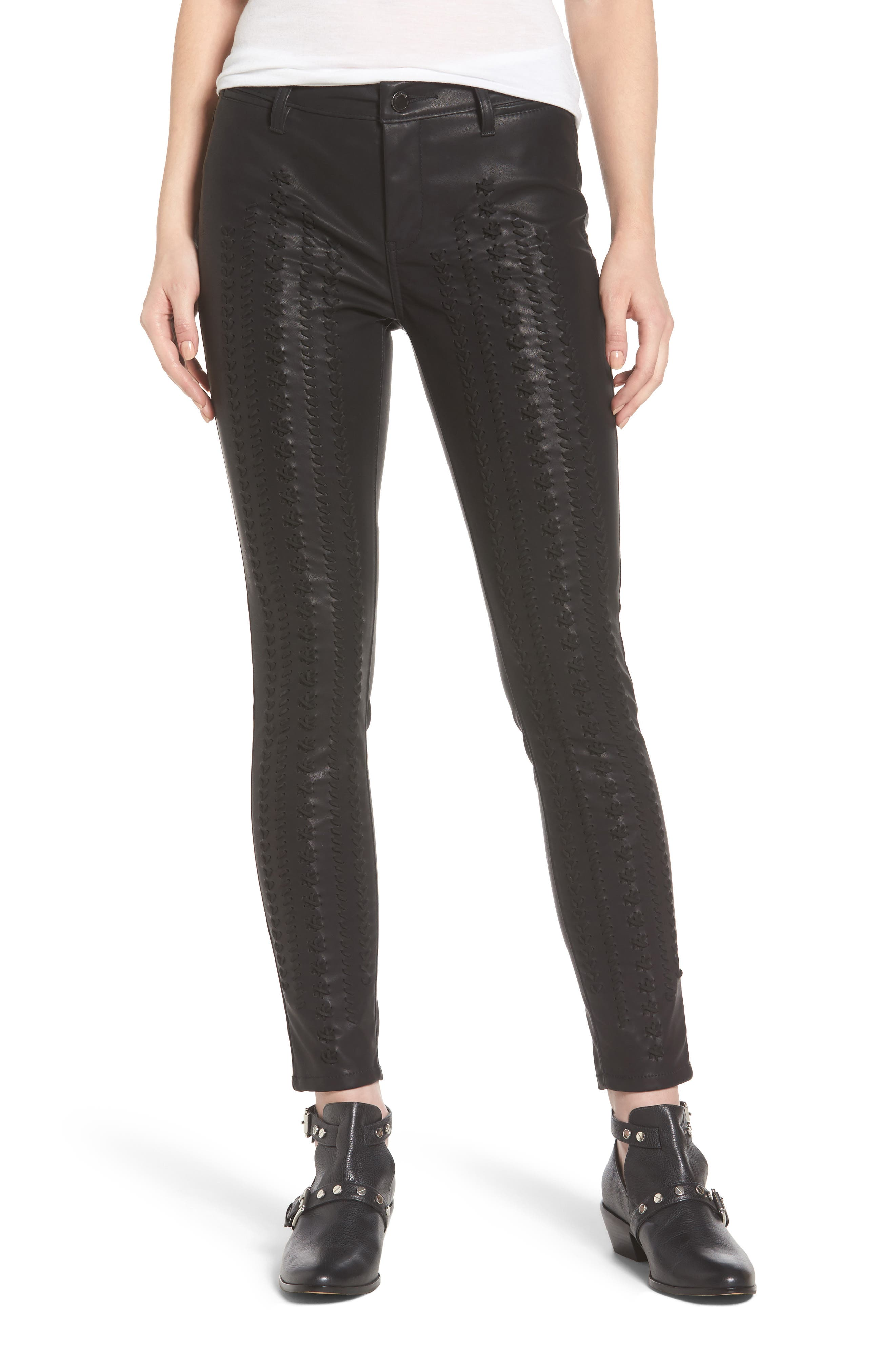 Whipstitch Ankle Skinny Faux Leather Pants,                         Main,                         color, 001