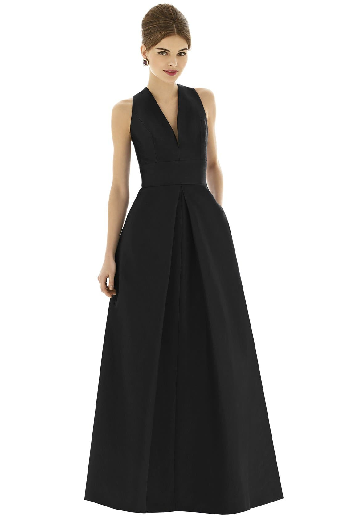 1960s – 70s Cocktail, Party, Prom, Evening Dresses Womens Alfred Sung Dupioni A-Line Gown Size 14 - Black $242.00 AT vintagedancer.com