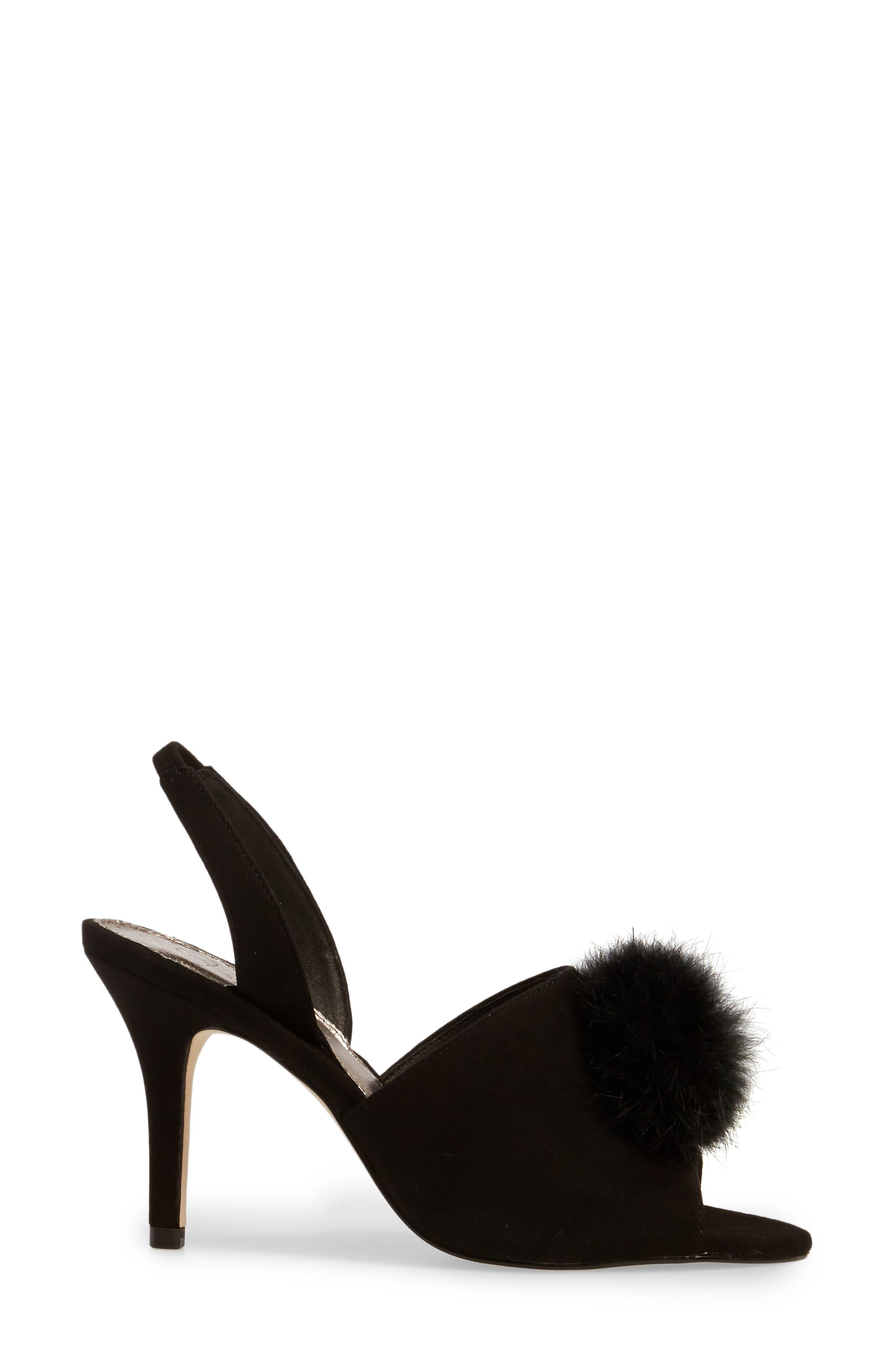 Alecia Genuine Rabbit Fur Pompom Sandal,                             Alternate thumbnail 5, color,