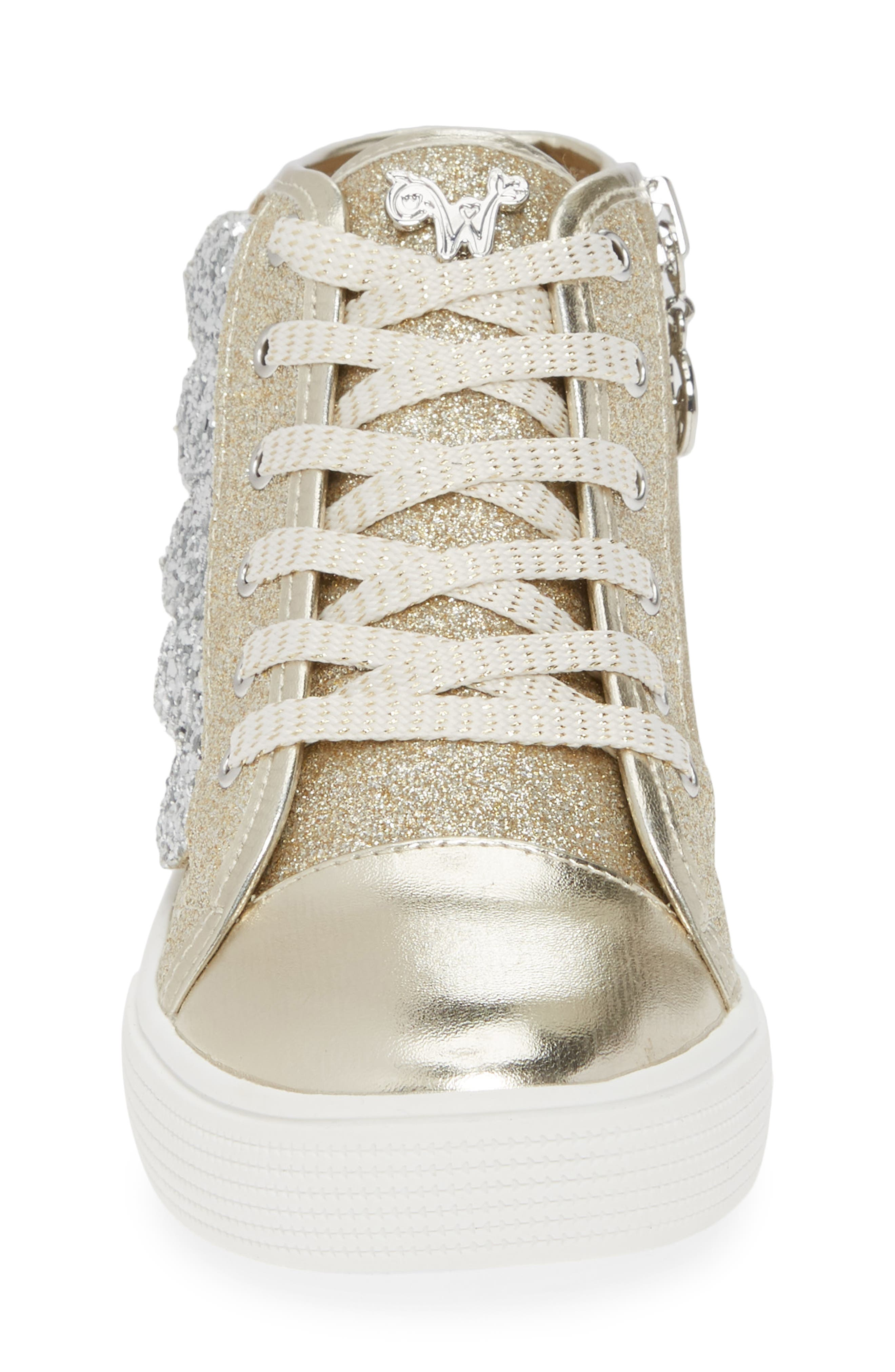 Willa Winged Glitter High Top Sneaker,                             Alternate thumbnail 4, color,                             SOFT GOLD SILVER