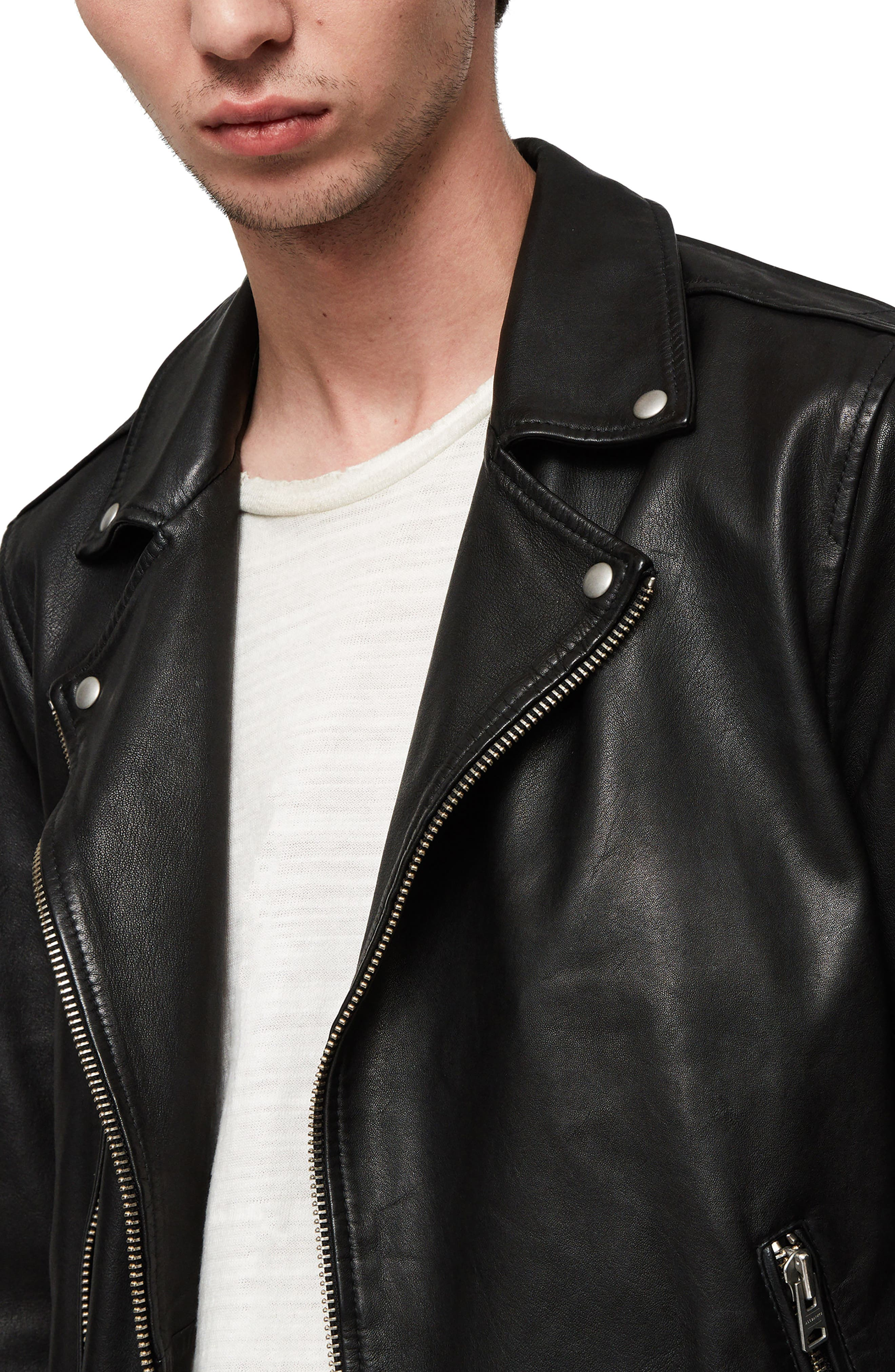 Wick Slim Fit Leather Biker Jacket,                             Alternate thumbnail 3, color,                             BLACK