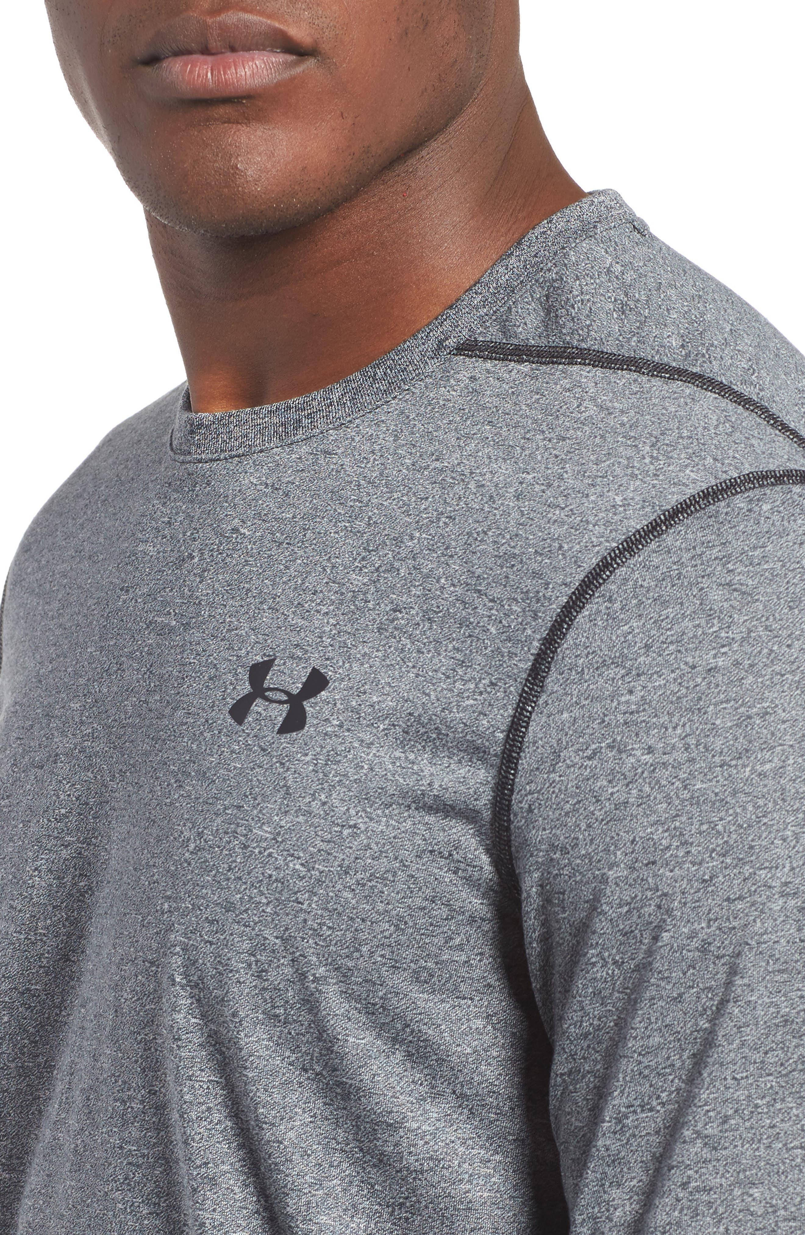 Regular Fit Threadborne T-Shirt,                             Alternate thumbnail 4, color,                             BLACK TWIST