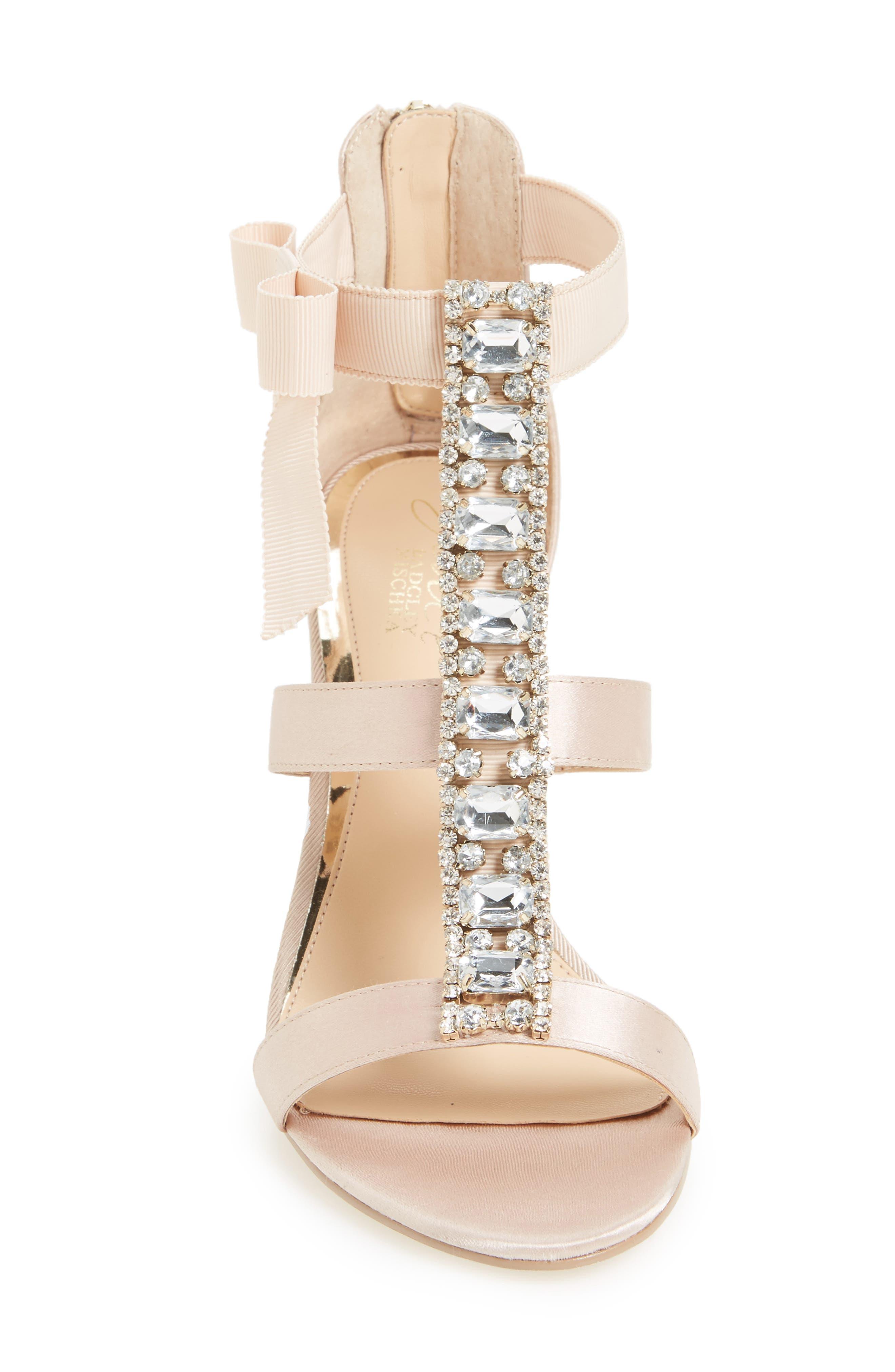 Henderson Embellished Bow Sandal,                             Alternate thumbnail 3, color,                             CHAMPAGNE SATIN