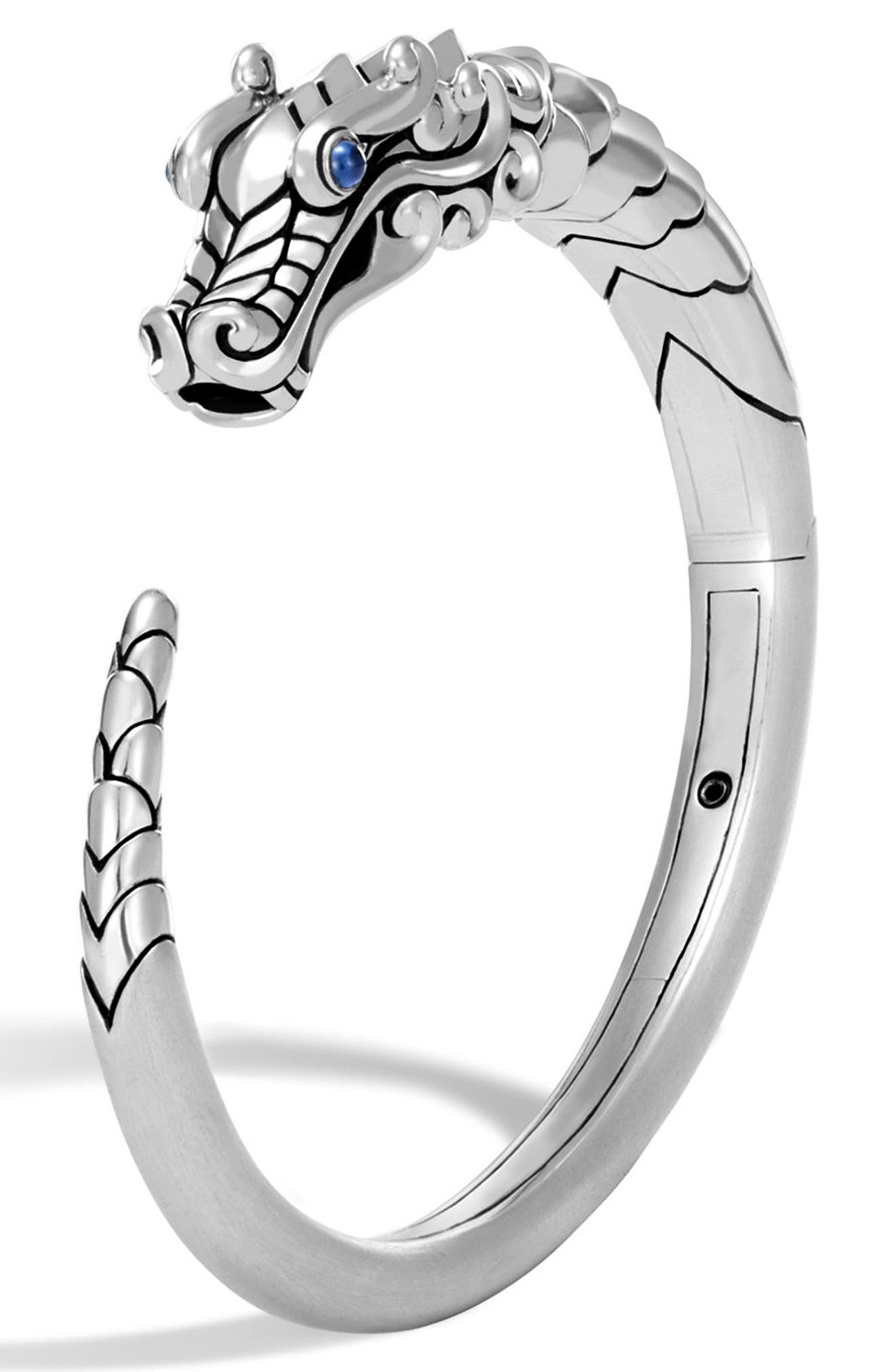 Legends Naga Cuff Bracelet with Sapphires,                             Main thumbnail 1, color,                             SILVER