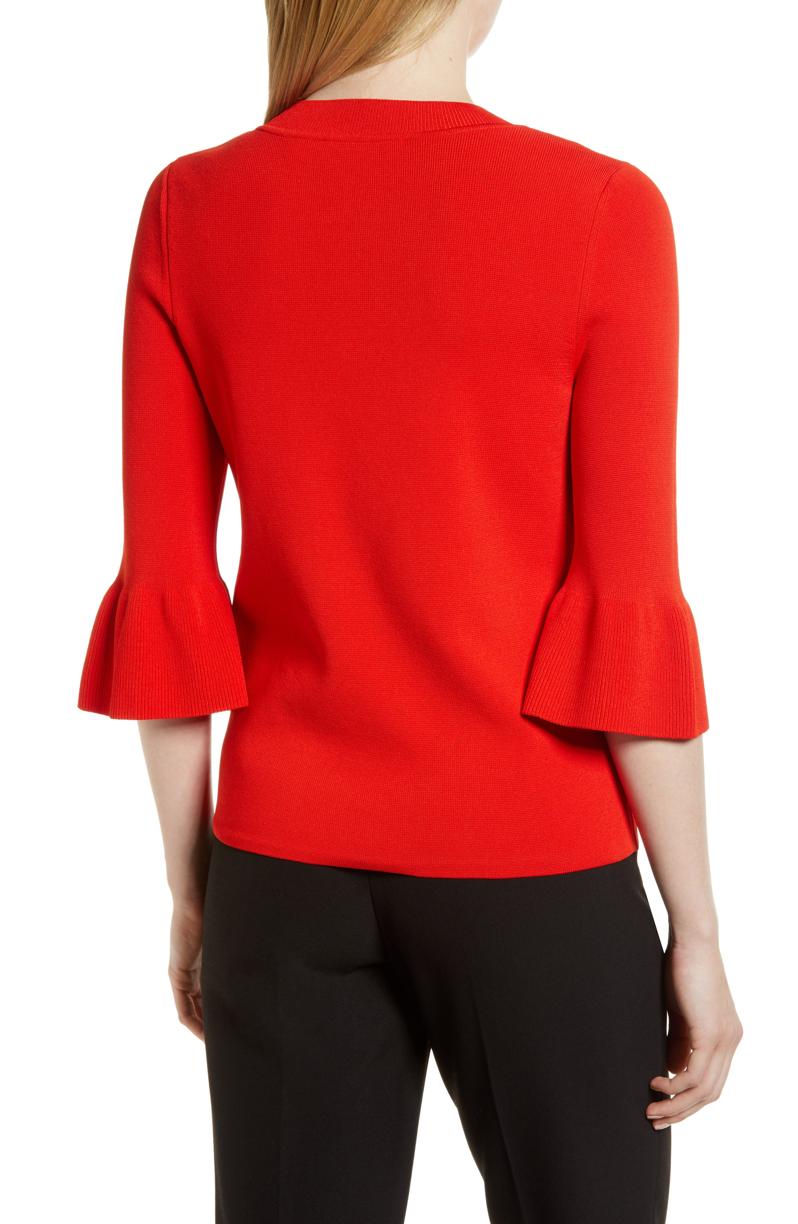Fenella Ruffle Sleeve Sweater,                             Alternate thumbnail 3, color,