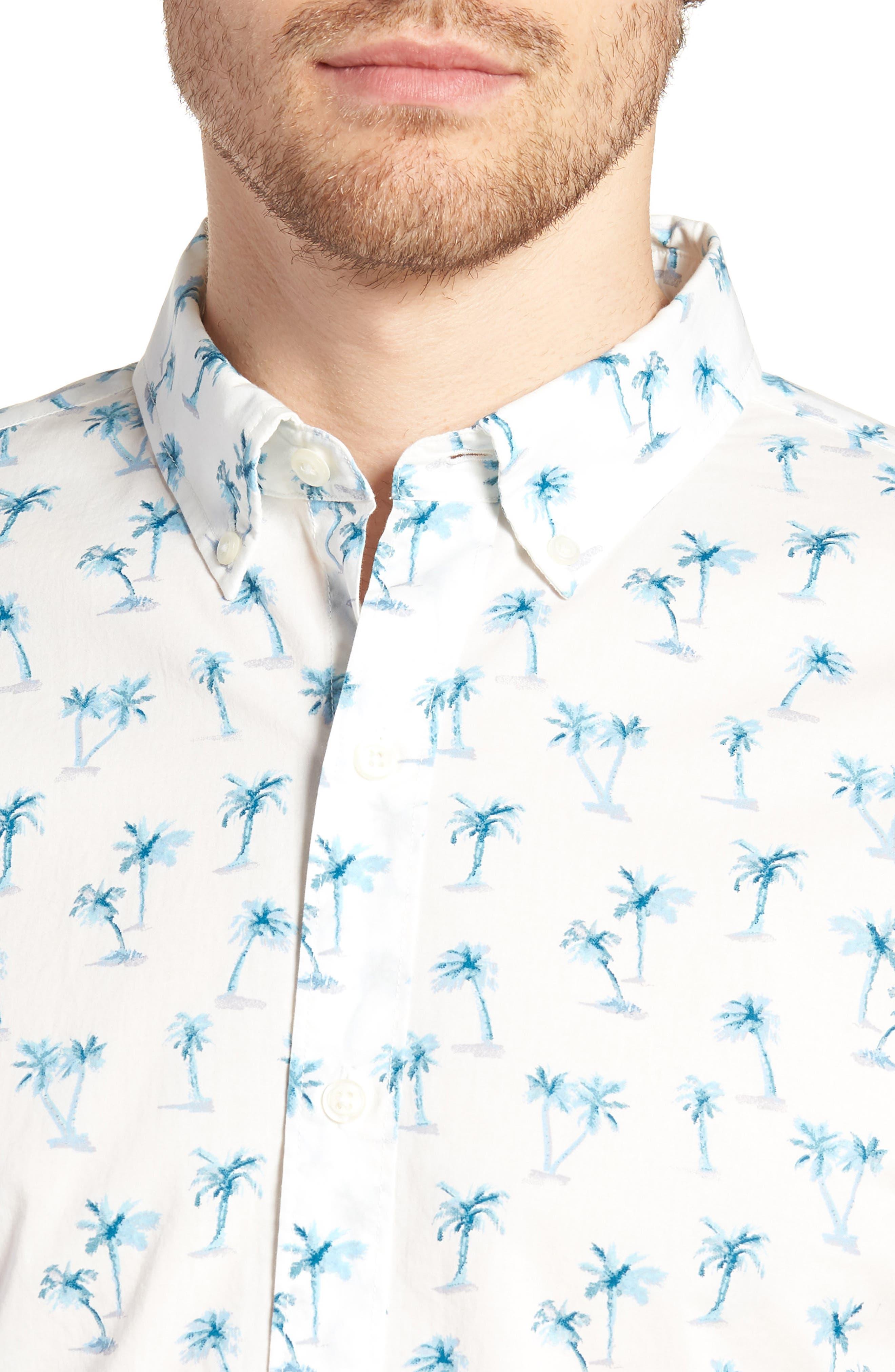 Riviera Slim Fit Palm Print Sport Shirt,                             Alternate thumbnail 4, color,                             100