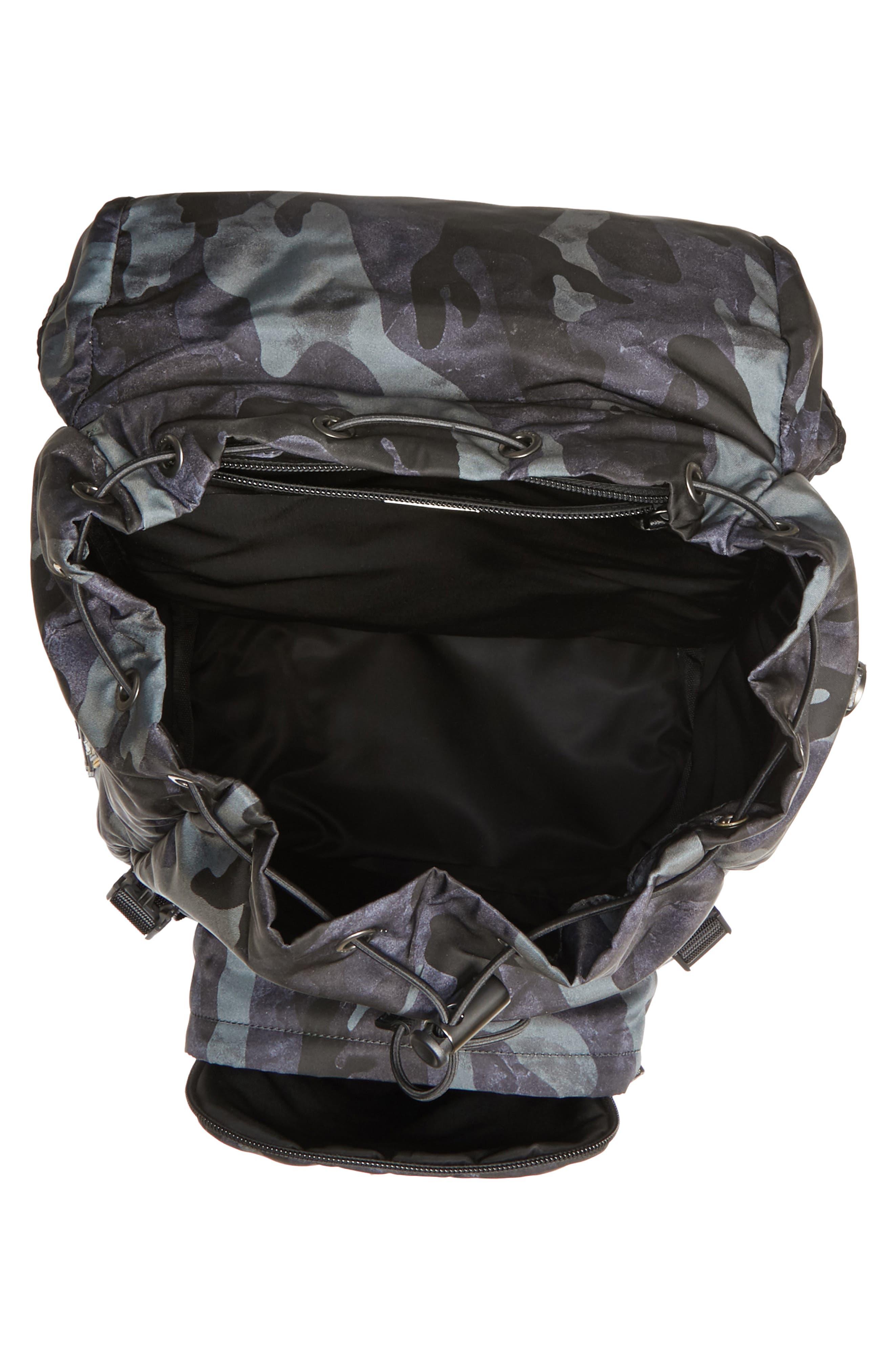 Tessuto Camo Nylon Backpack,                             Alternate thumbnail 4, color,                             BLACK