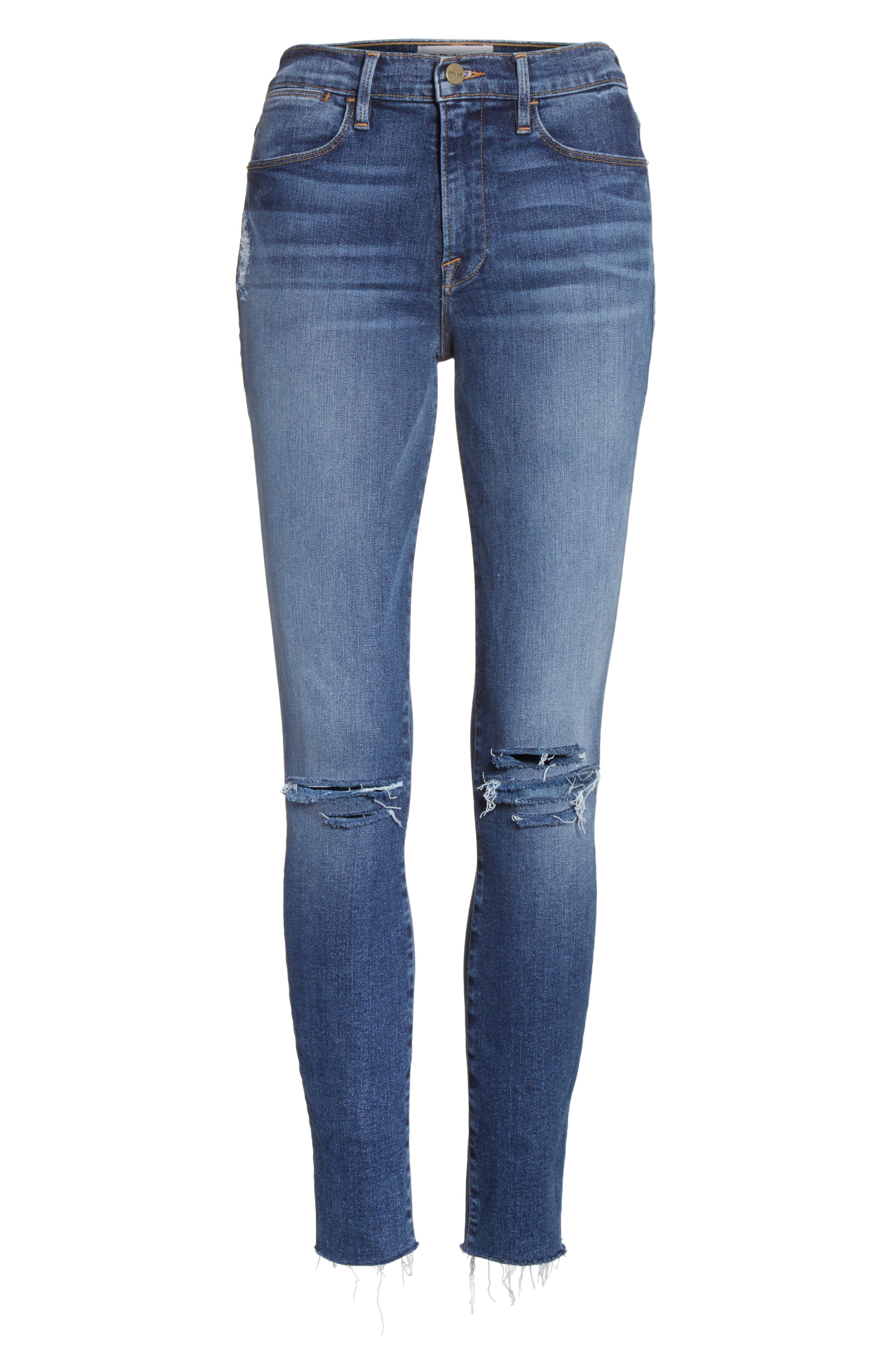 Le High Raw Hem Skinny Jeans,                             Alternate thumbnail 6, color,                             420