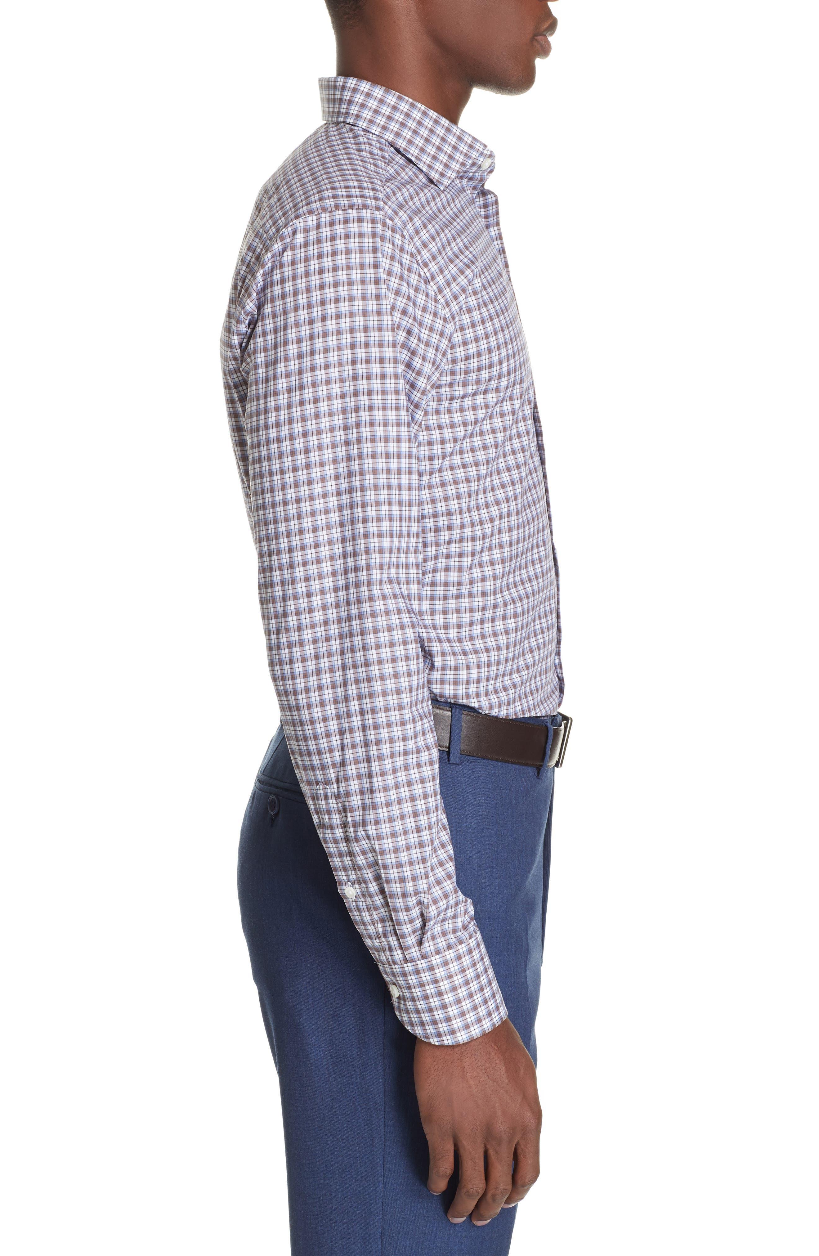 Trim Fit Plaid Dress Shirt,                             Alternate thumbnail 4, color,                             MED BROWN