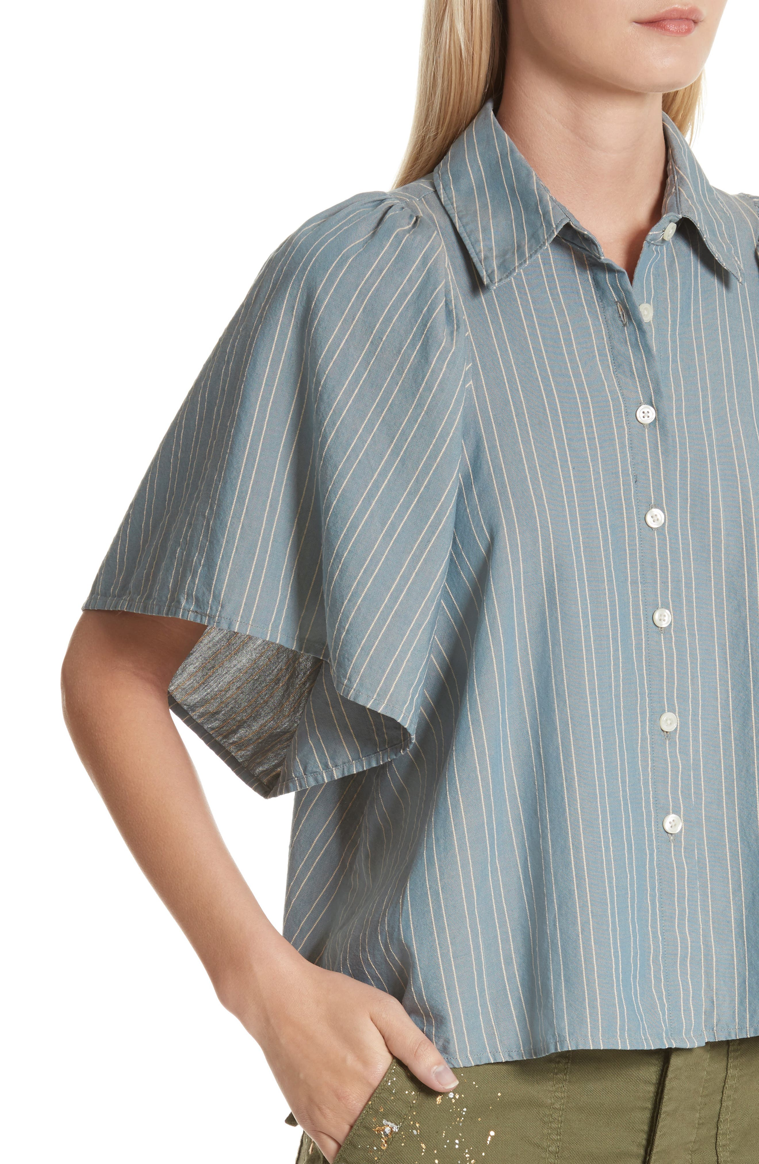 The Butterfly Button Up Shirt,                             Alternate thumbnail 4, color,                             407