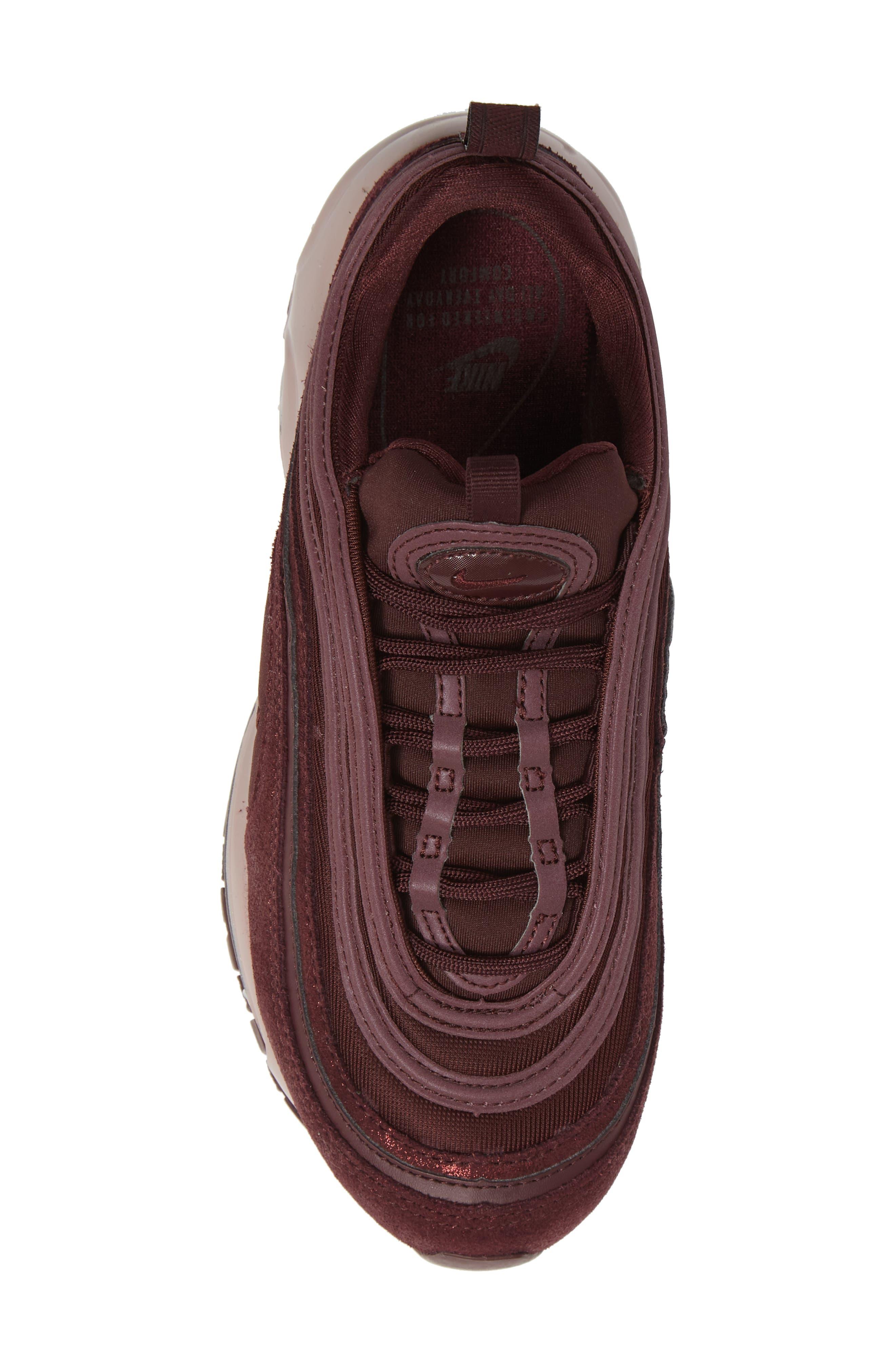 Air Max 97 SE Sneaker,                             Alternate thumbnail 5, color,                             BURGUNDY/ METALLIC MAHOGANY