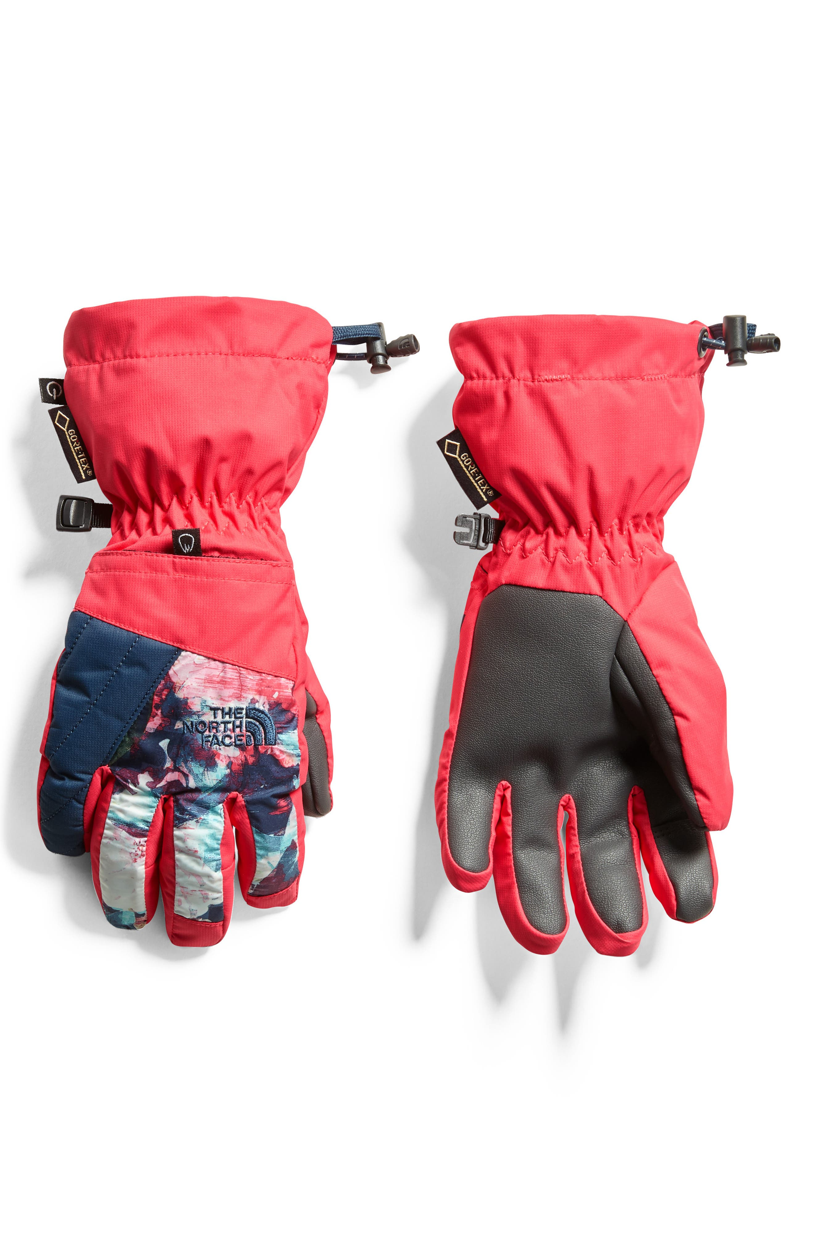 Montana Gore-Tex<sup>®</sup> Waterproof Gloves,                             Main thumbnail 1, color,                             PINK FLORAL PRINT/ BLUE TEAL