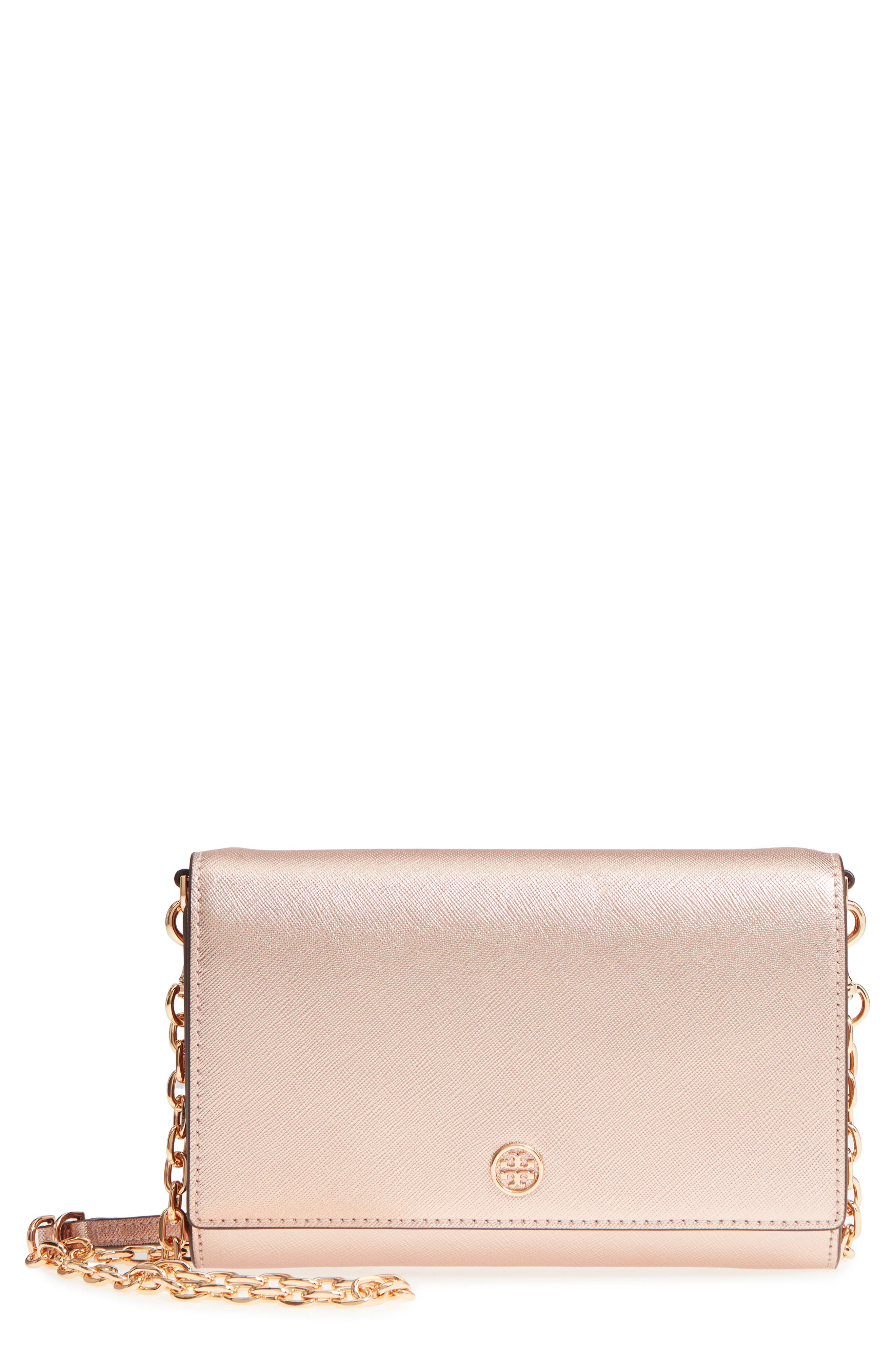 Robinson Metallic Leather Wallet on a Chain,                         Main,                         color, 650