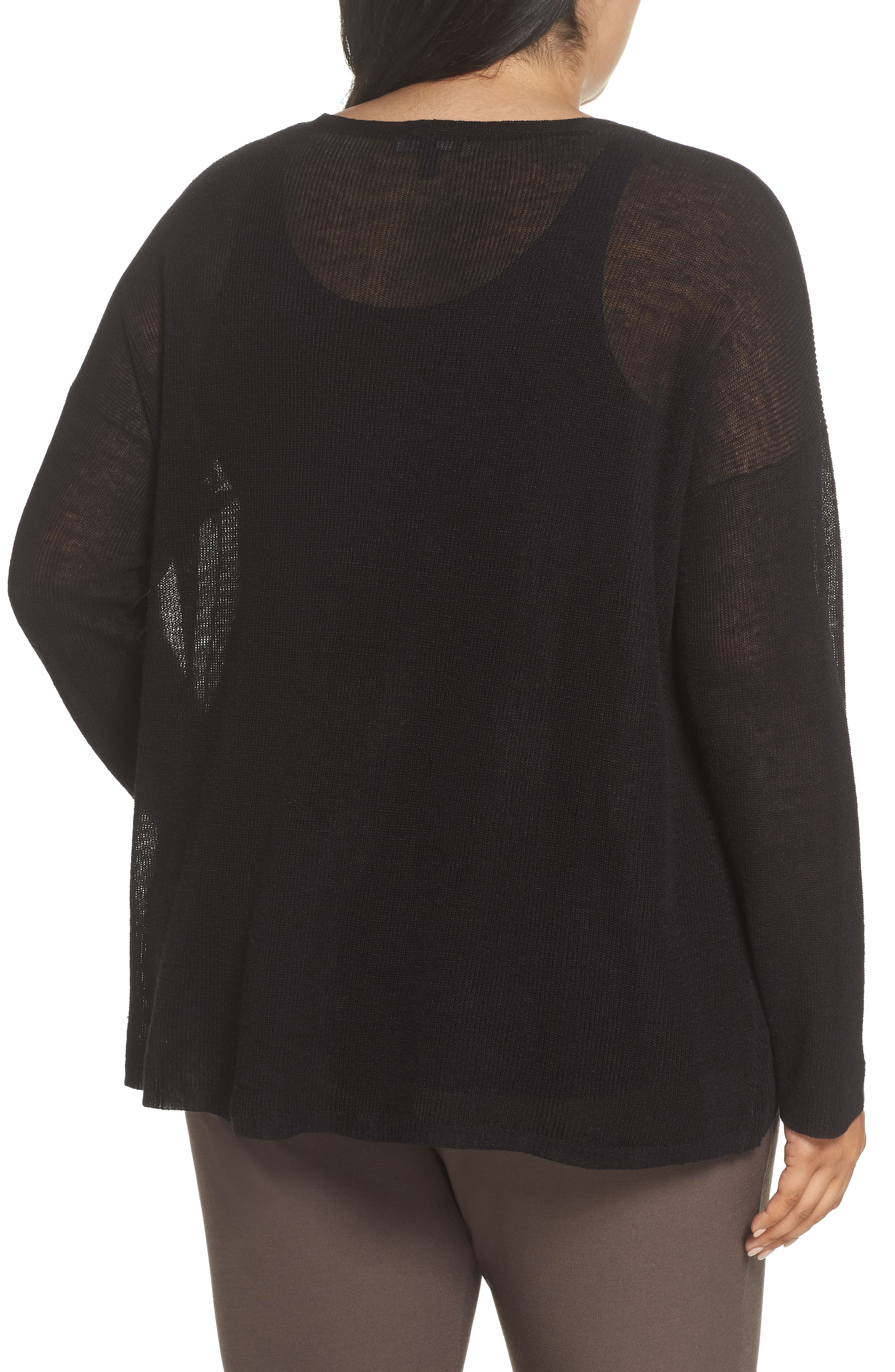 Boxy Organic Linen Blend Sweater,                             Alternate thumbnail 2, color,                             001