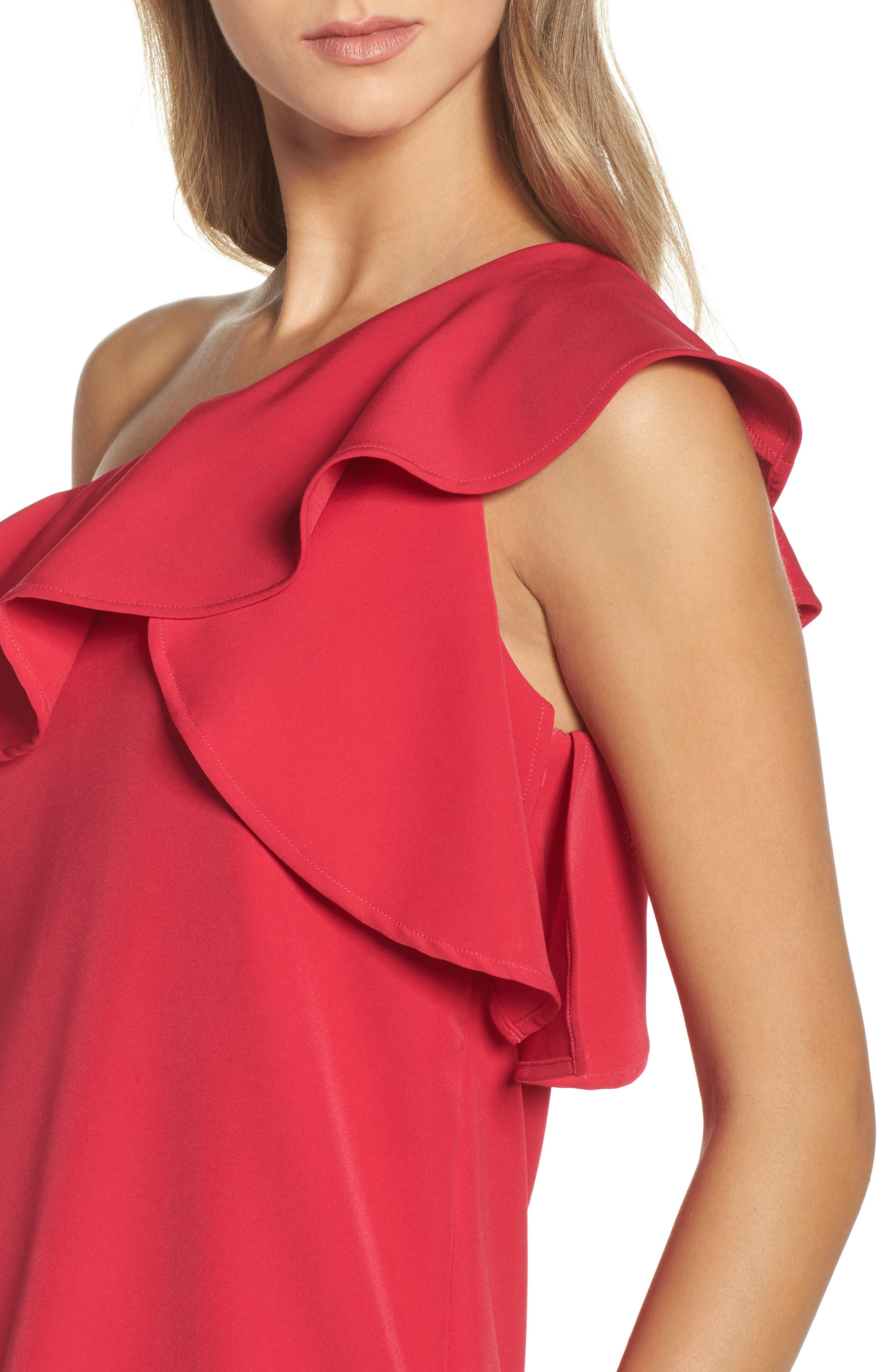 Ruffle One-Shoulder Dress,                             Alternate thumbnail 4, color,                             657