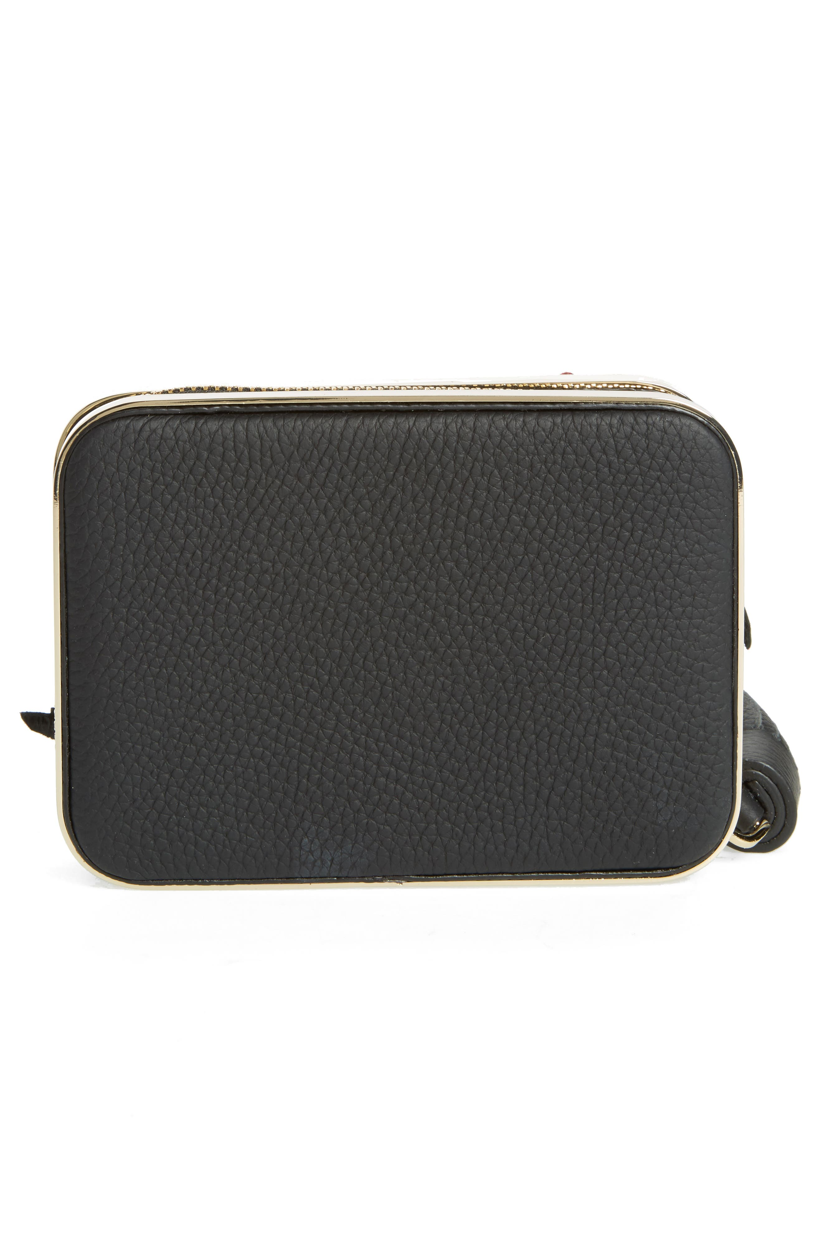 madison evening belles zurie leather frame clutch,                             Alternate thumbnail 3, color,                             001