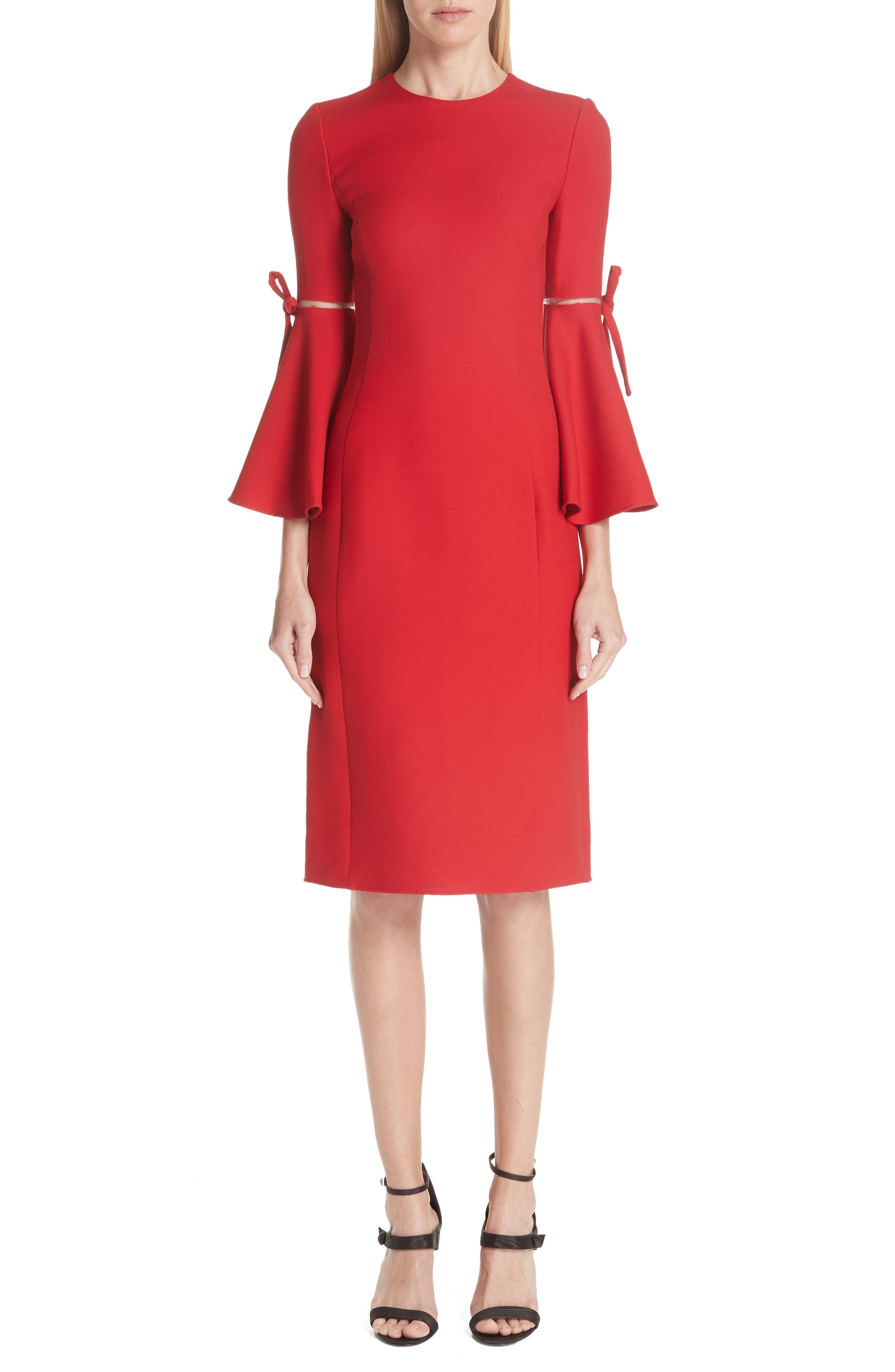 Split Trumpet Sleeve Wool & Silk Crepe Dress in Crimson