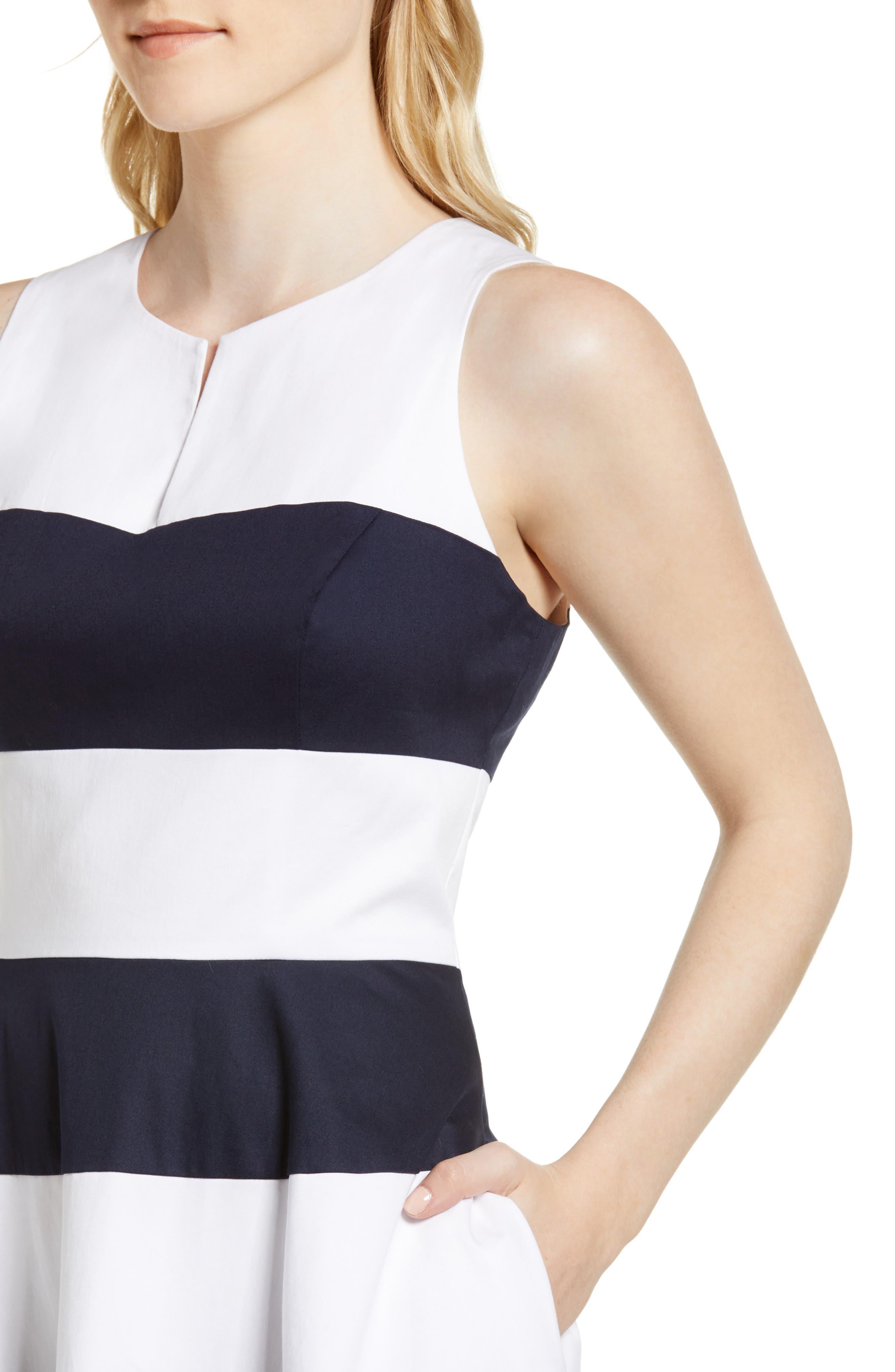 Stripe Fit & Flare Dress,                             Alternate thumbnail 4, color,                             410