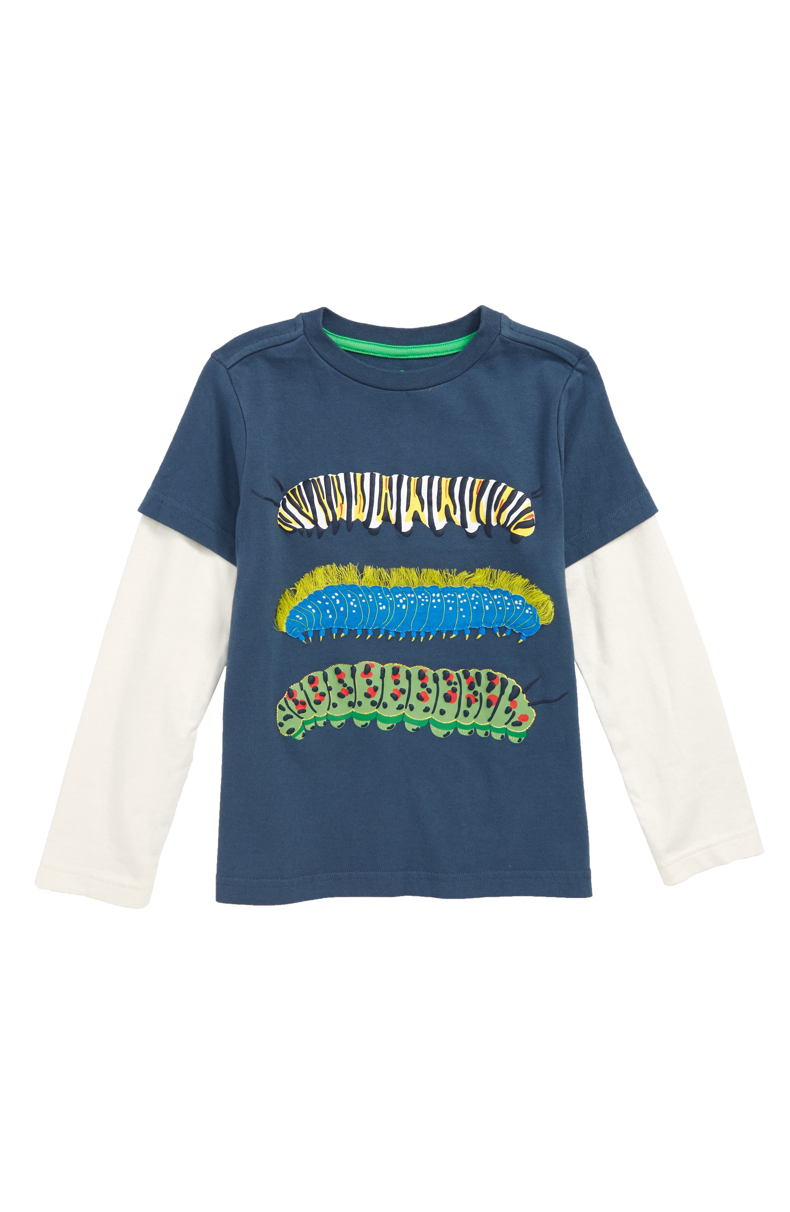 MINI BODEN,                             Creepy Crawly Caterpillars Layered T-Shirt,                             Main thumbnail 1, color,                             400