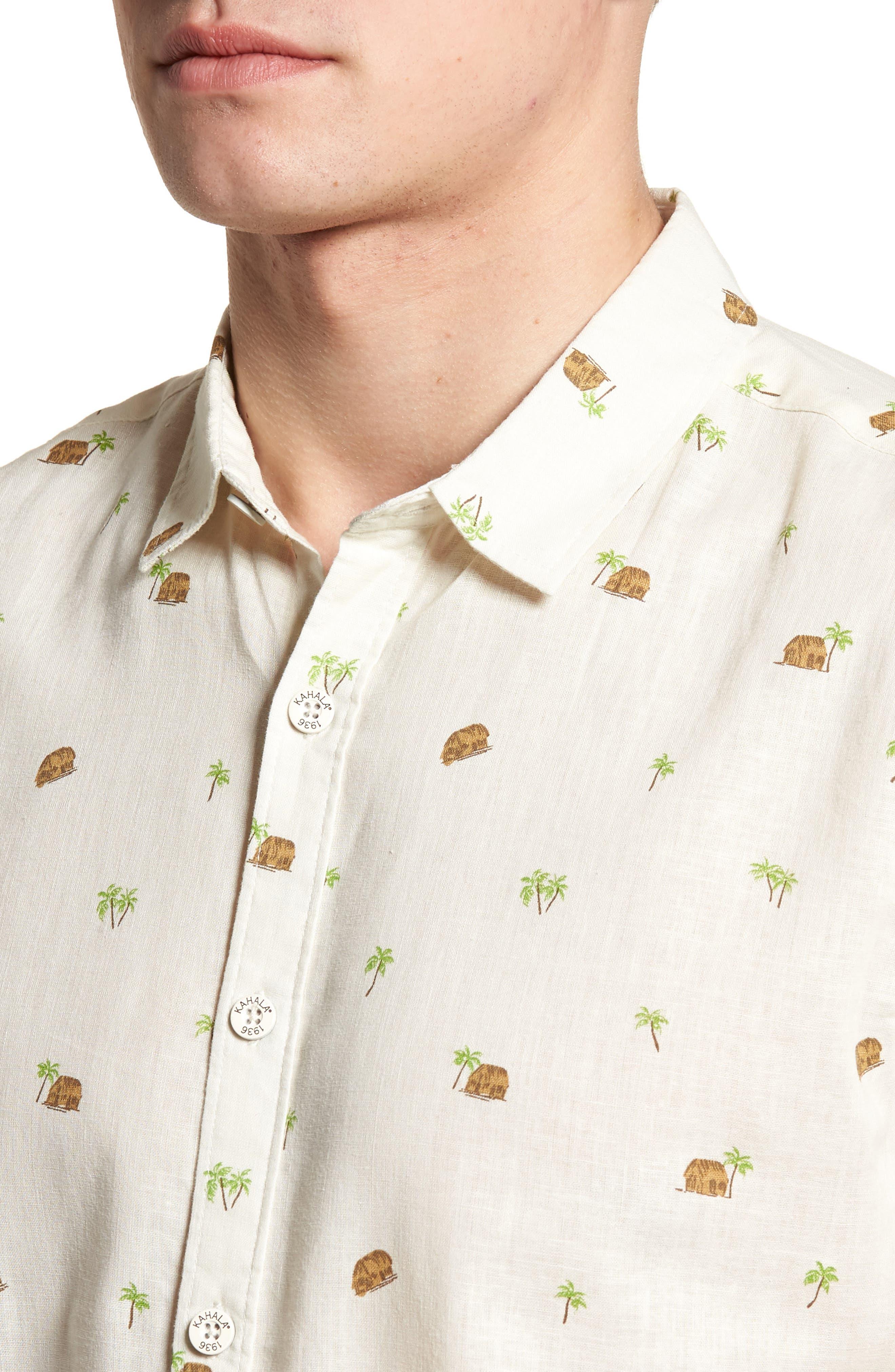 Hale Niu Trim Fit Linen Blend Camp Shirt,                             Alternate thumbnail 4, color,                             102
