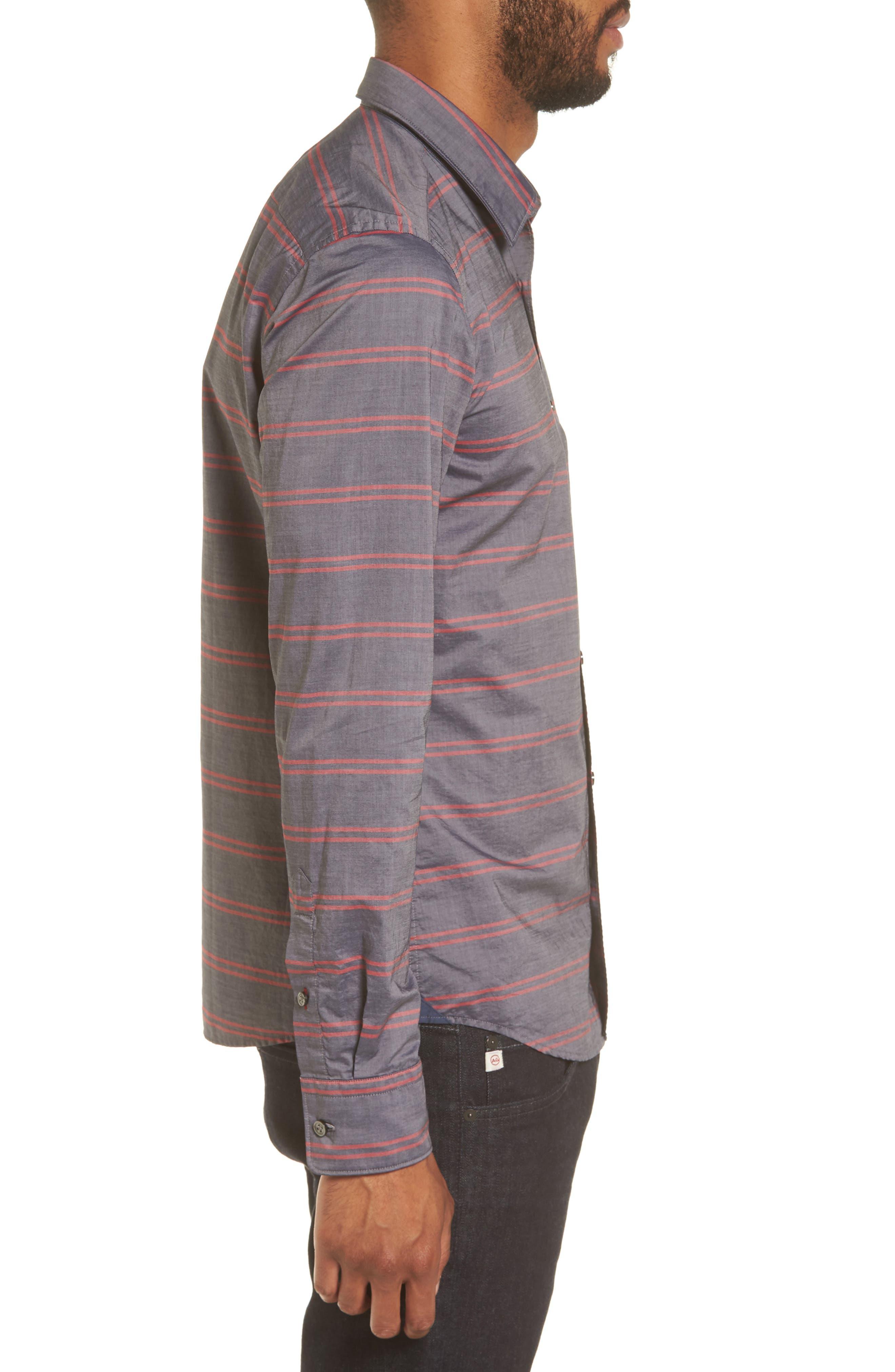 Reid Slim Fit Stripe Sport Shirt,                             Alternate thumbnail 3, color,