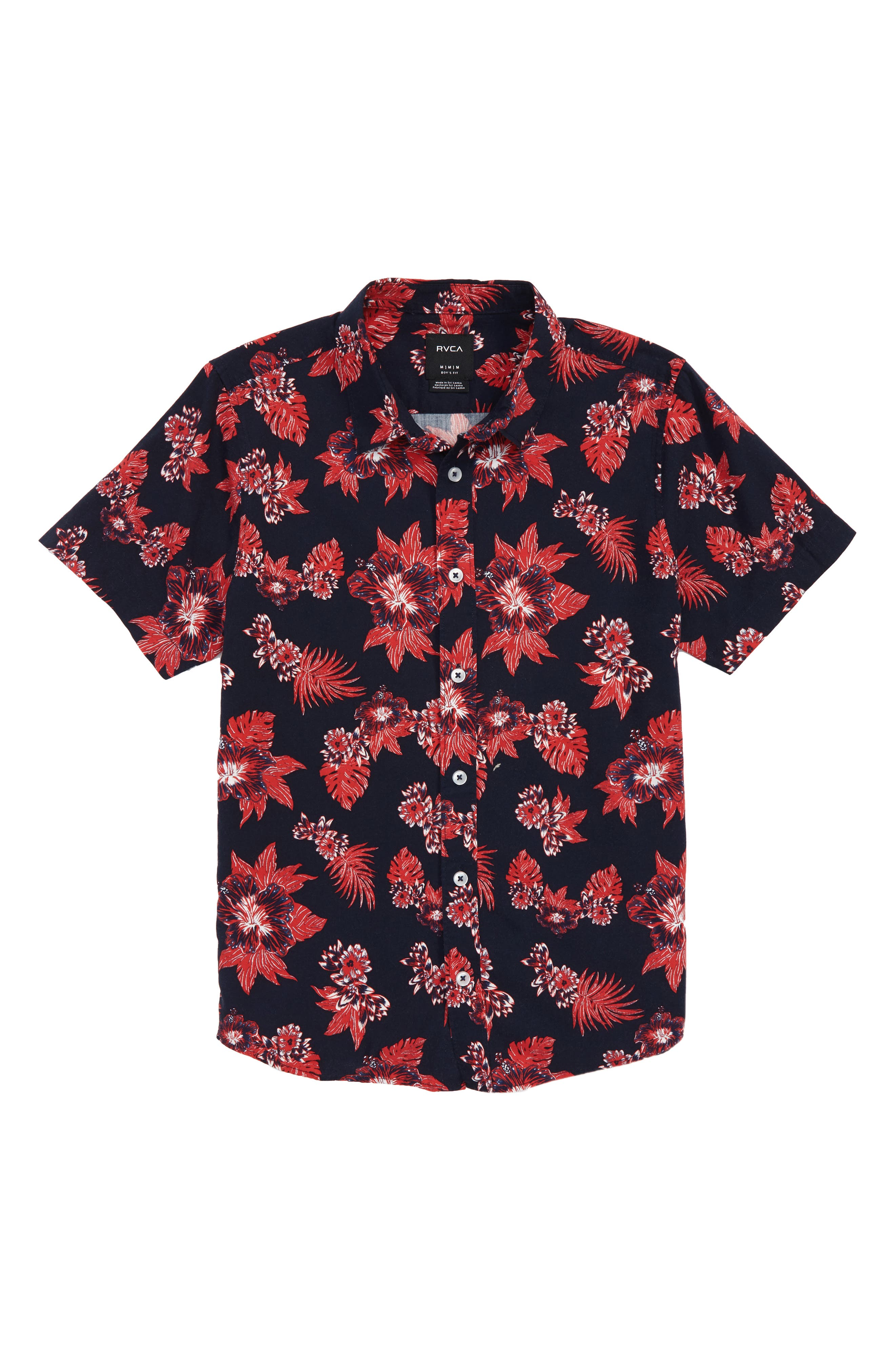 Floral Woven Shirt,                         Main,                         color, NEW NAVY