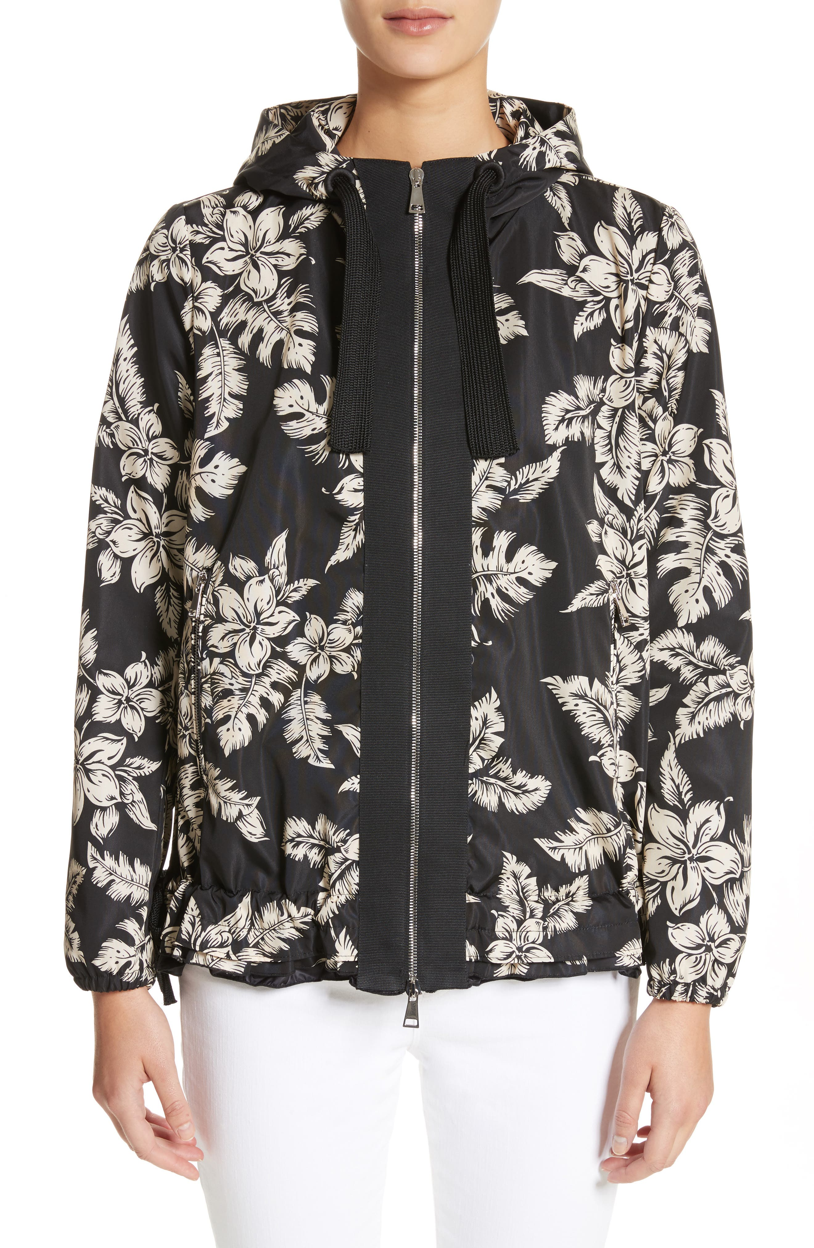 Water Resistant Floral Print Hooded Jacket,                         Main,                         color, 001