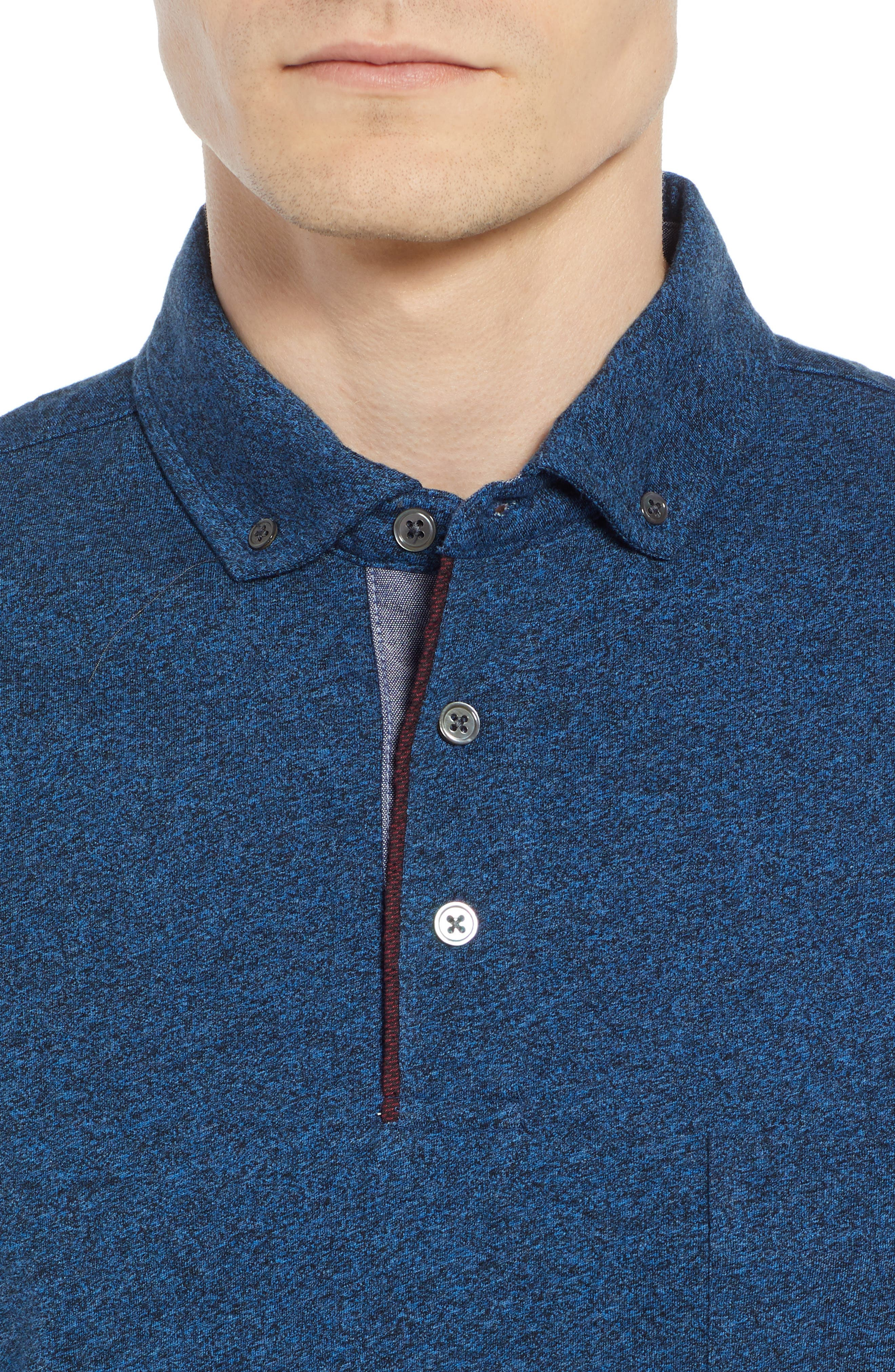 Haast Pass Button Down Polo,                             Alternate thumbnail 4, color,                             NAVY