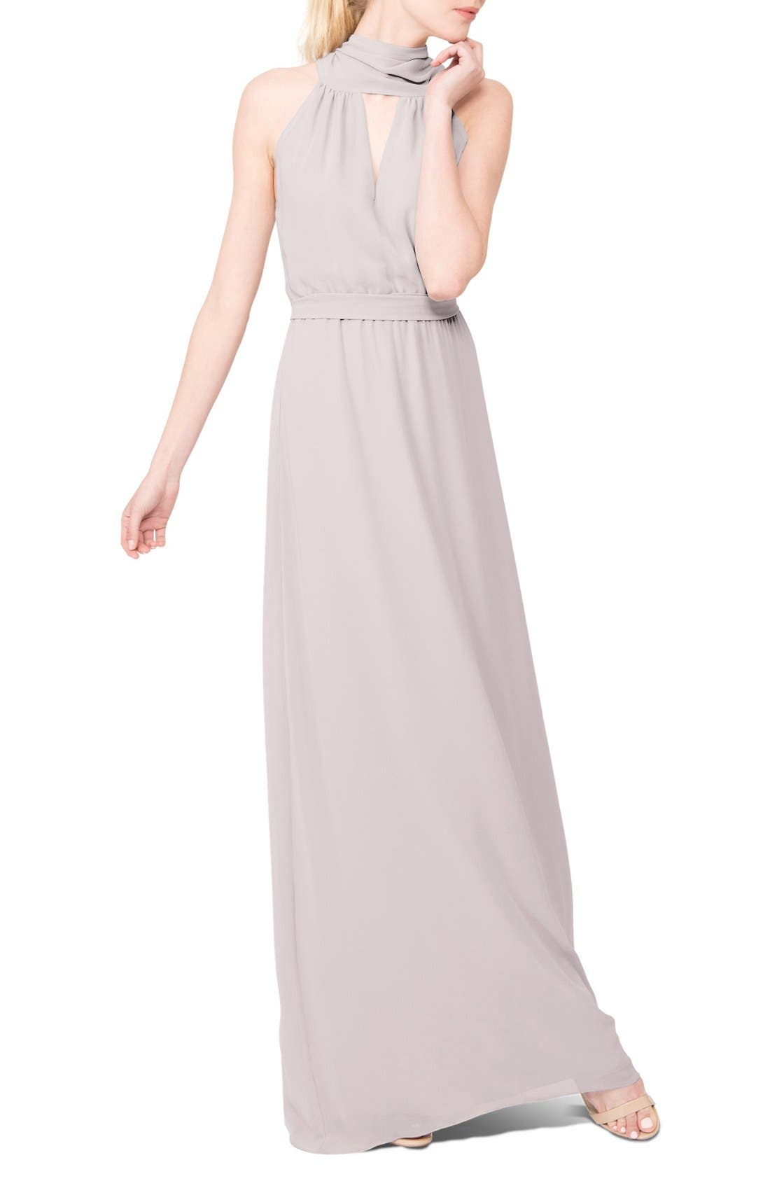 Riggs Halter V-Neck Chiffon Gown,                             Main thumbnail 4, color,