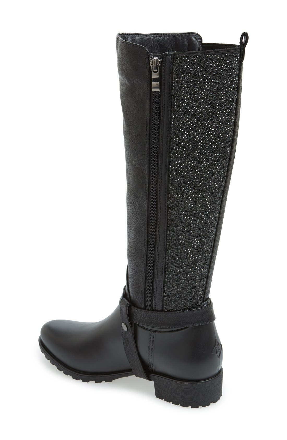 'Kingston' Water Resistant Sparkle Boot,                             Alternate thumbnail 2, color,                             BLACK