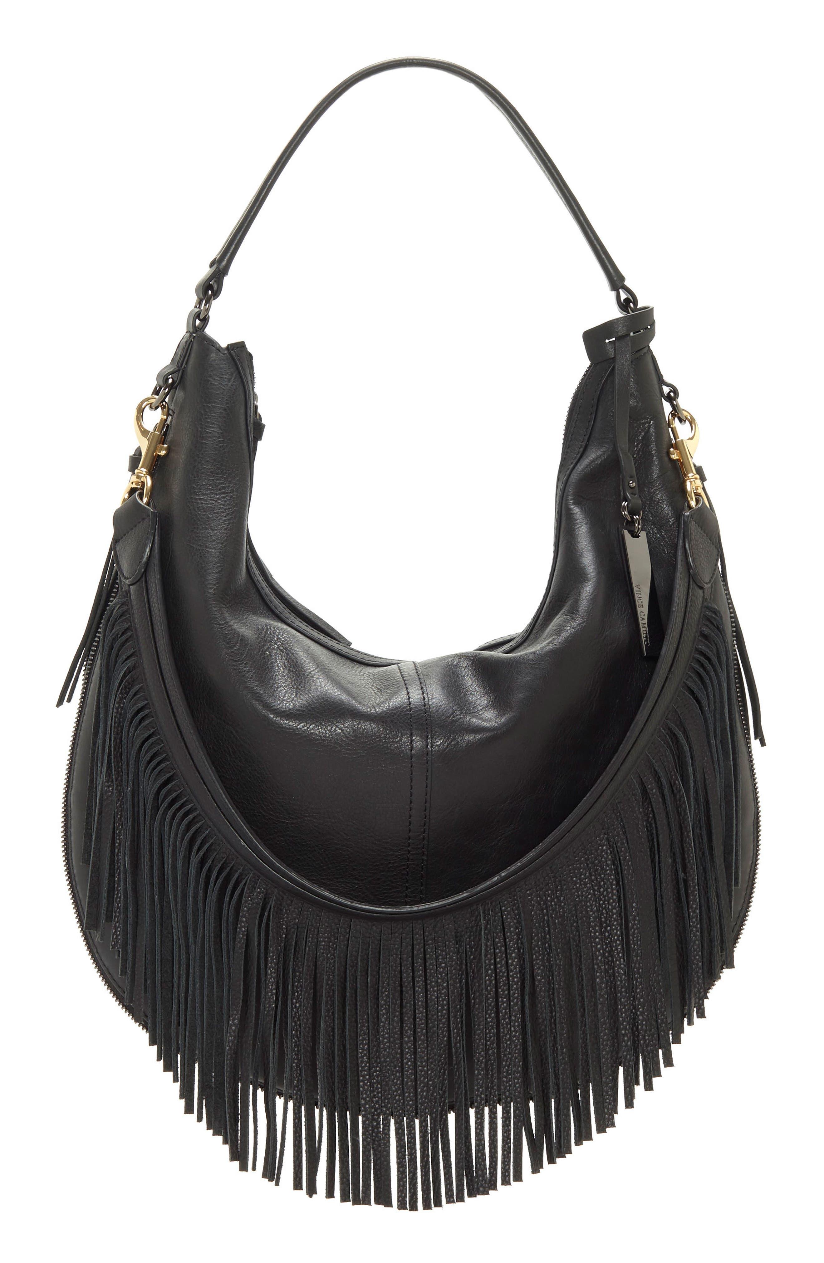 Hil Leather Hobo Bag,                             Main thumbnail 1, color,                             002