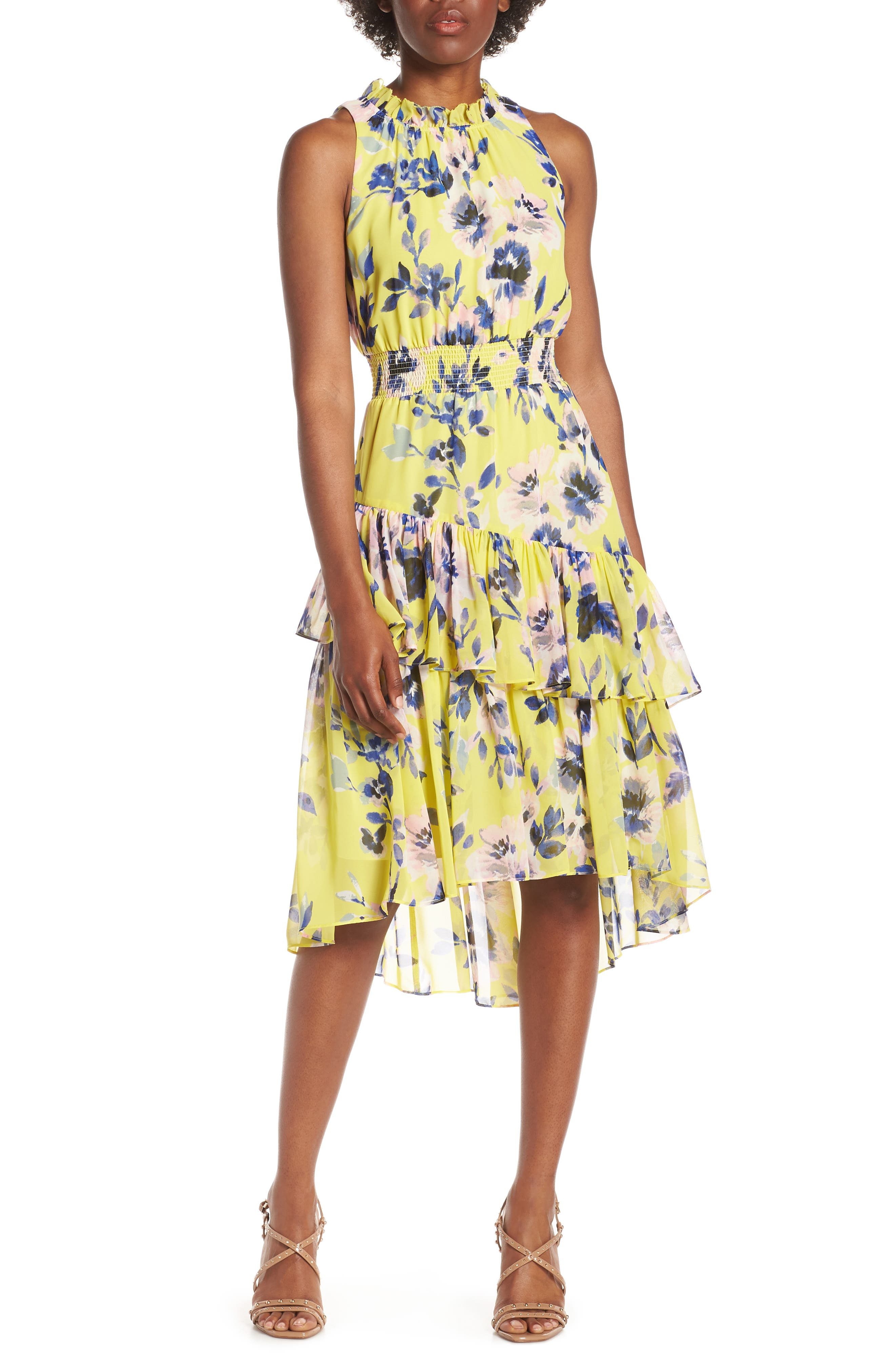 Eliza J Floral Asymmetric Tiered Dress, Yellow