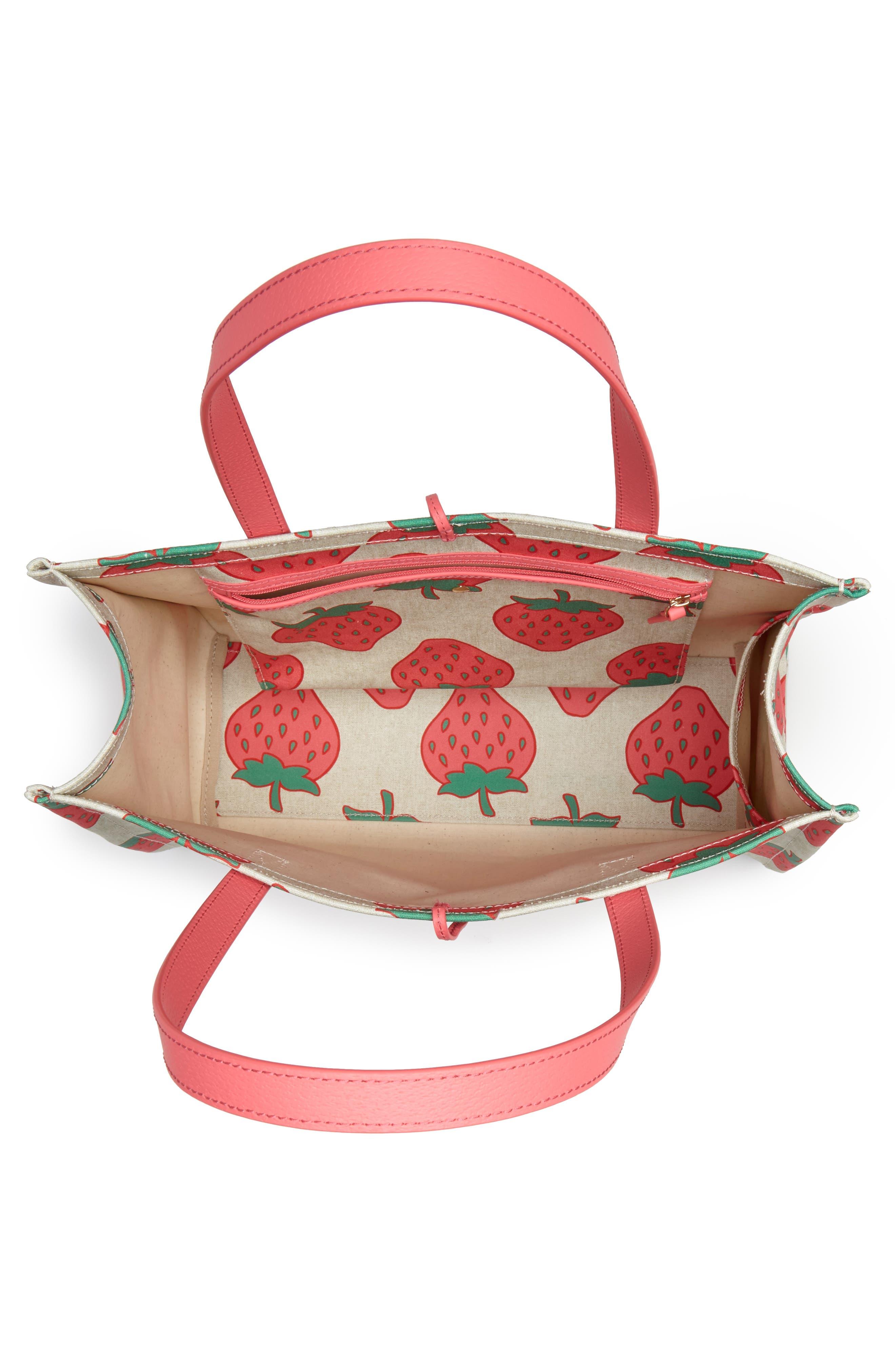 picnic perfect strawberry canvas mega sam canvas tote,                             Alternate thumbnail 4, color,                             650