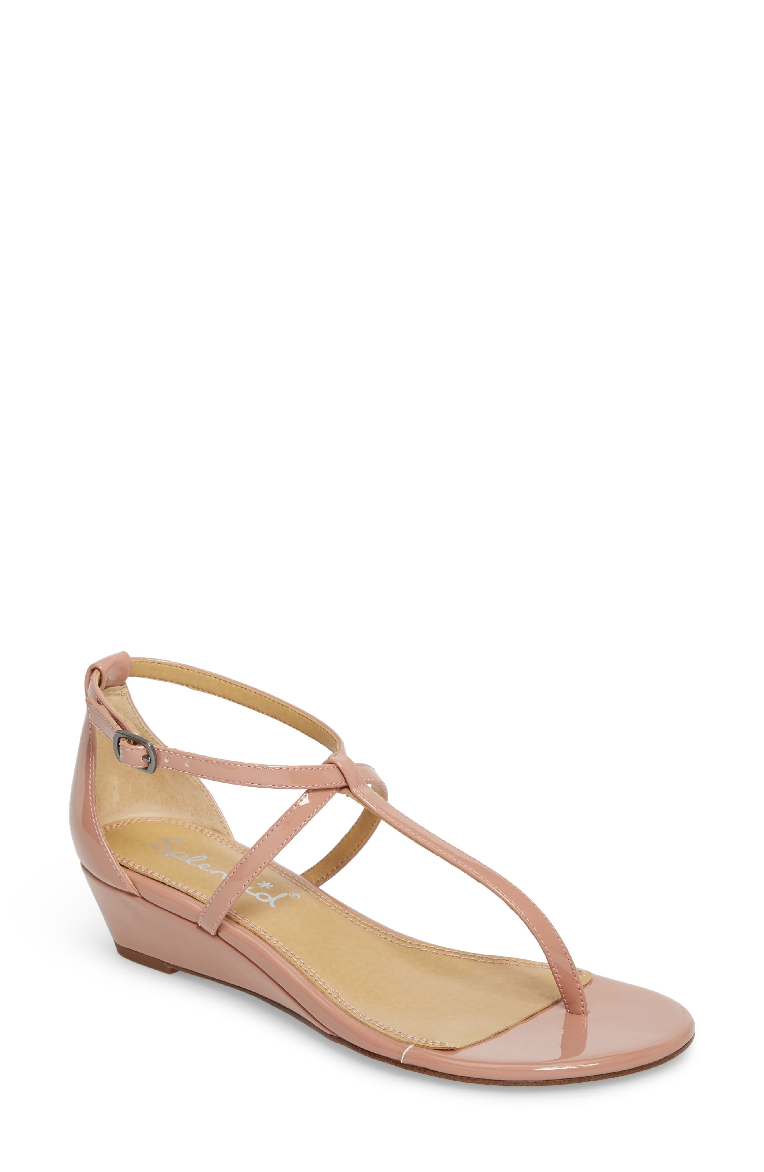Bryce T-Strap Wedge Sandal,                             Main thumbnail 1, color,                             DARK BLUSH PATENT