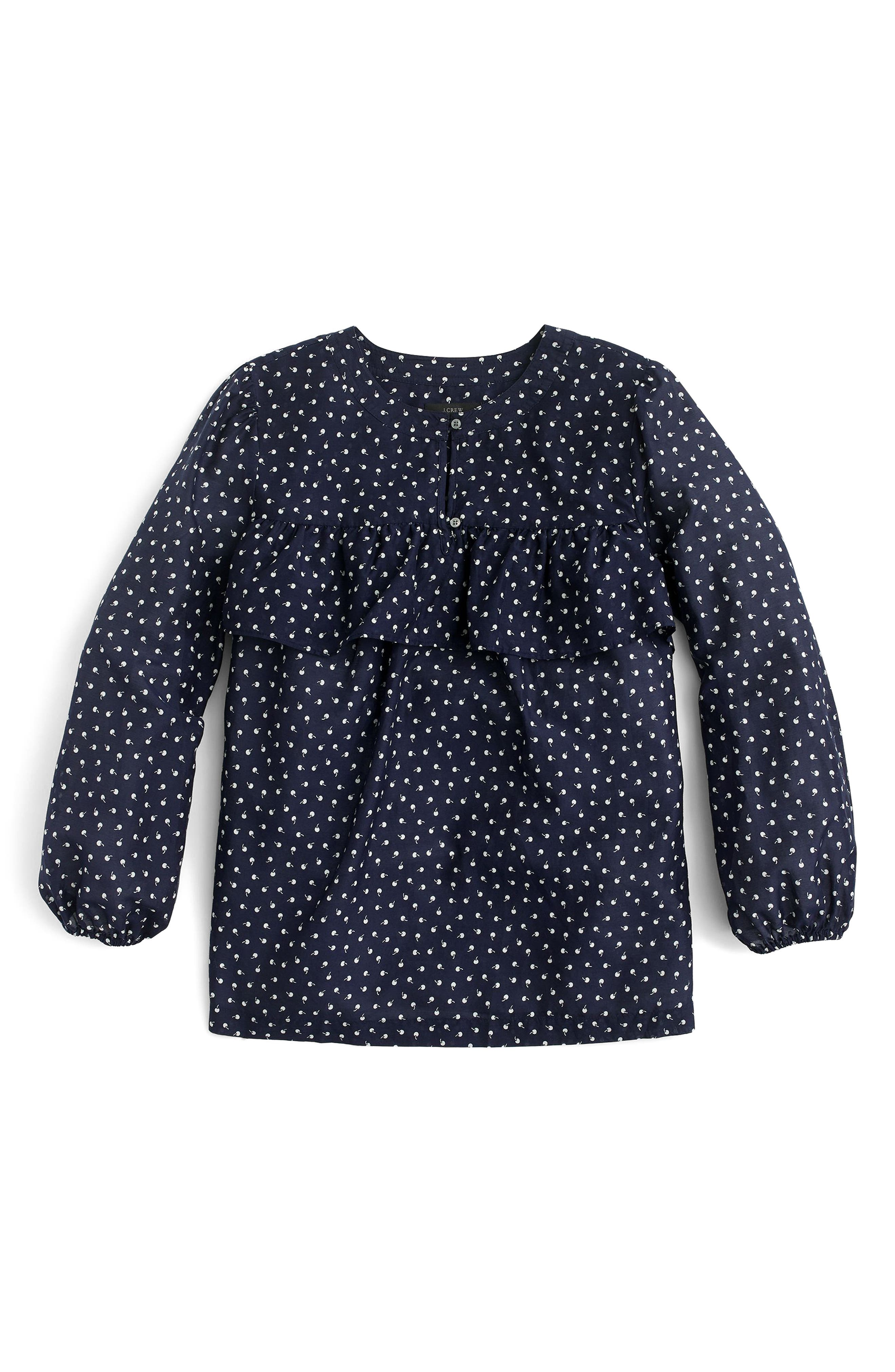J. Crew Cherry Print Ruffle Top,                         Main,                         color, 010