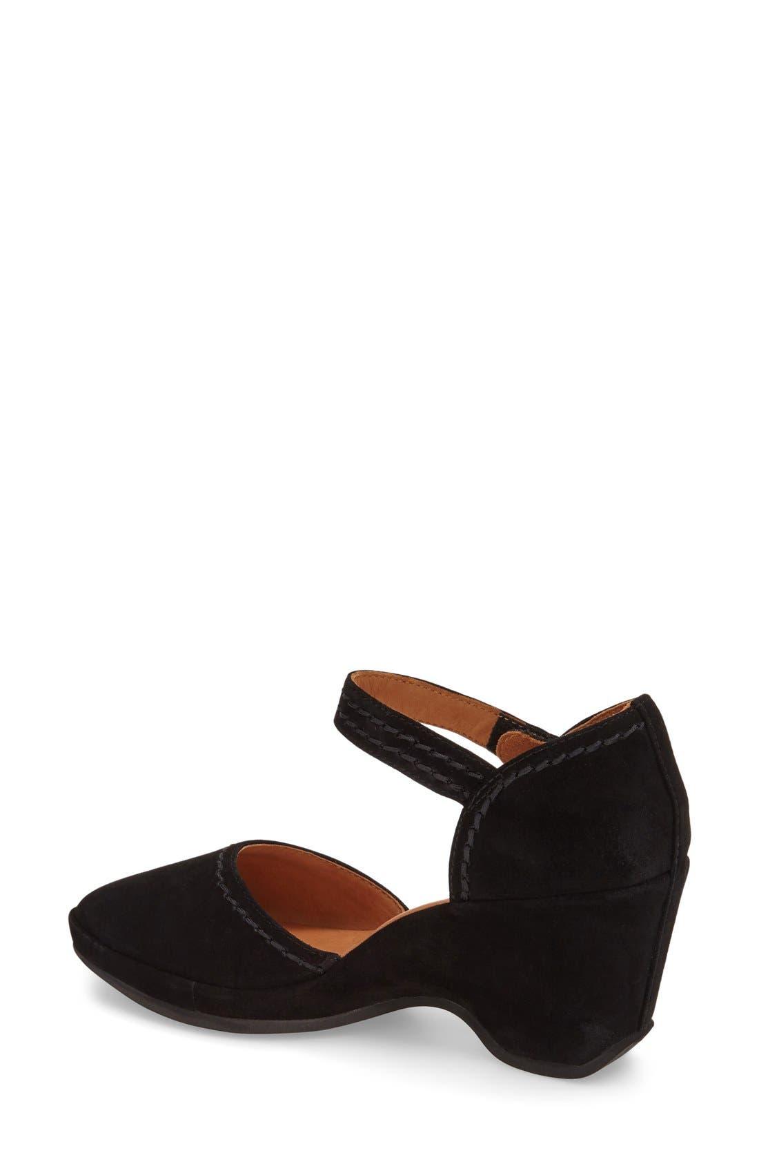 L'Amourdes Pieds'Orva' Wedge Sandal,                             Alternate thumbnail 2, color,                             BLACK KIDSUEDE