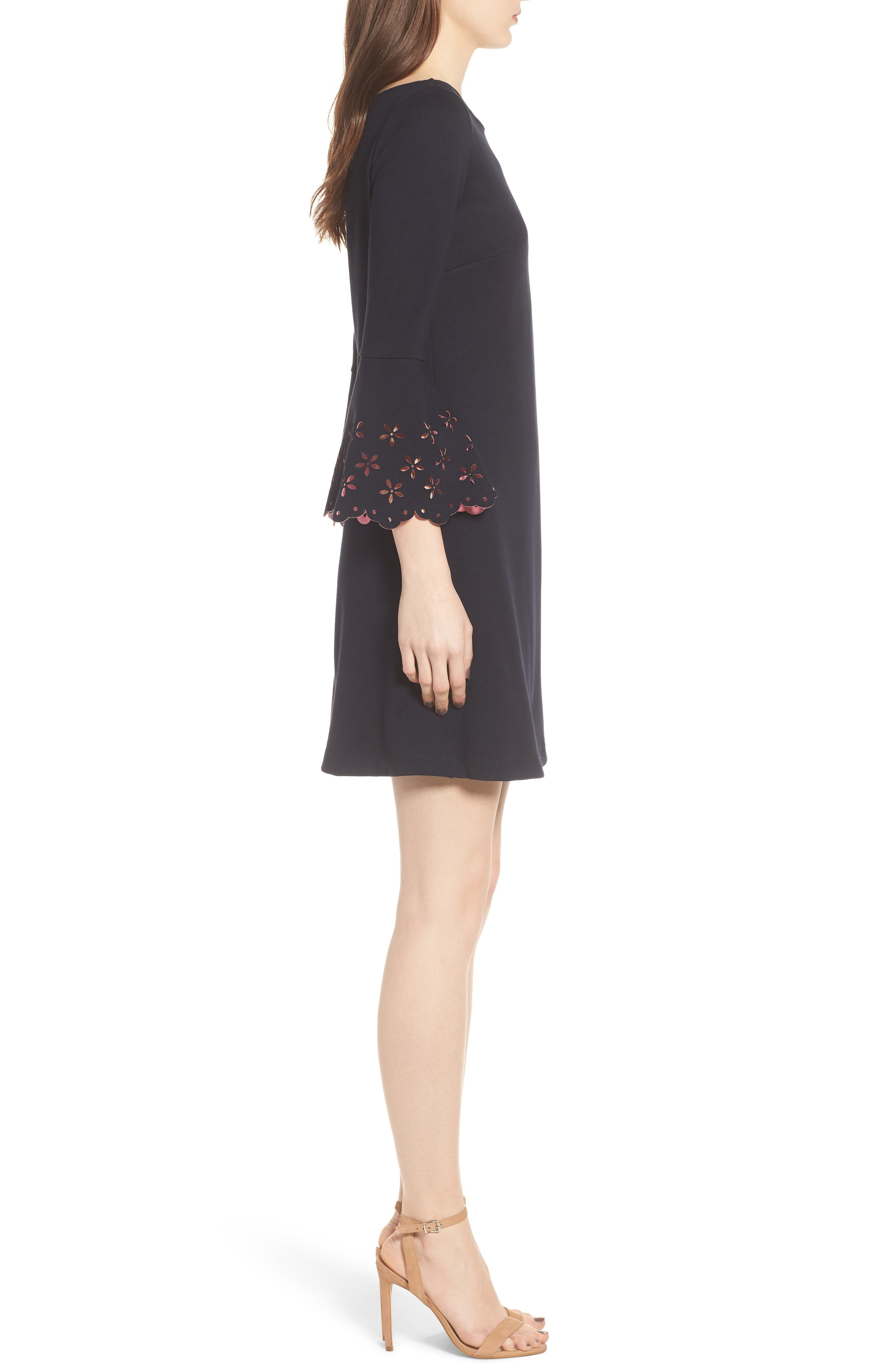 Daisy Eyelet Cuff Sheath Dress,                             Alternate thumbnail 3, color,                             471