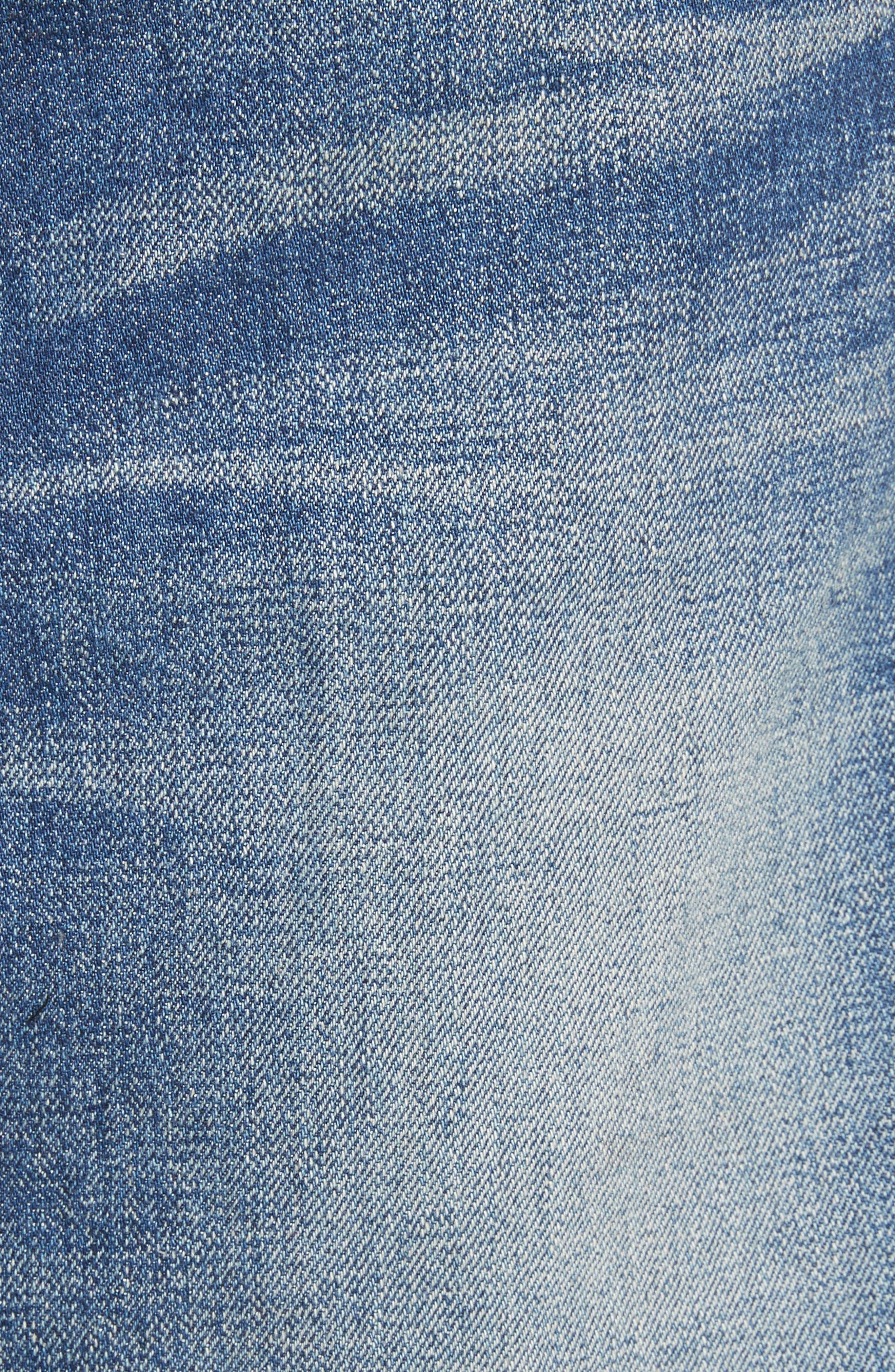 Tartan Back Denim Miniskirt,                             Alternate thumbnail 5, color,                             460