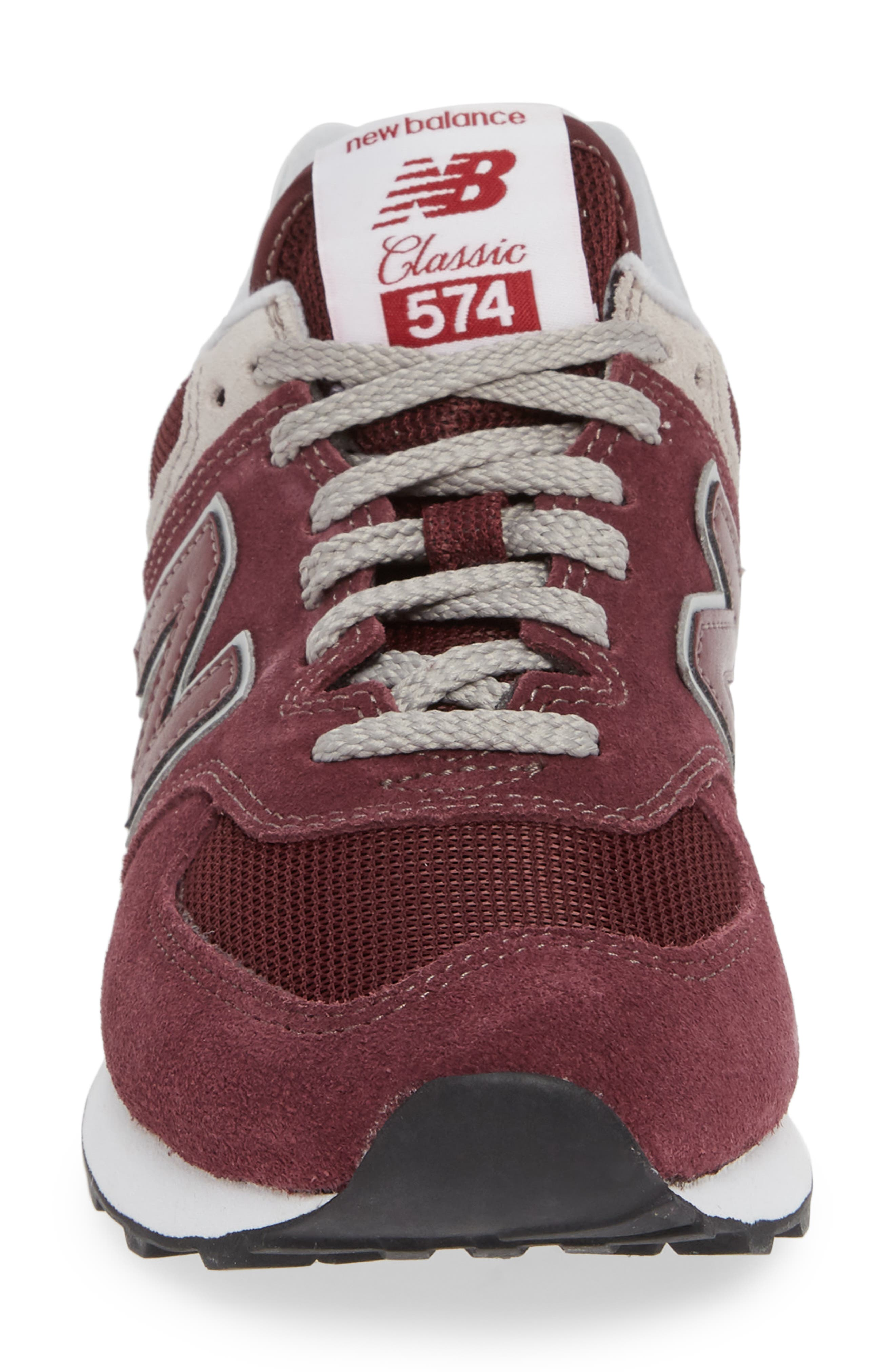 '574' Sneaker,                             Alternate thumbnail 4, color,                             BURGUNDY
