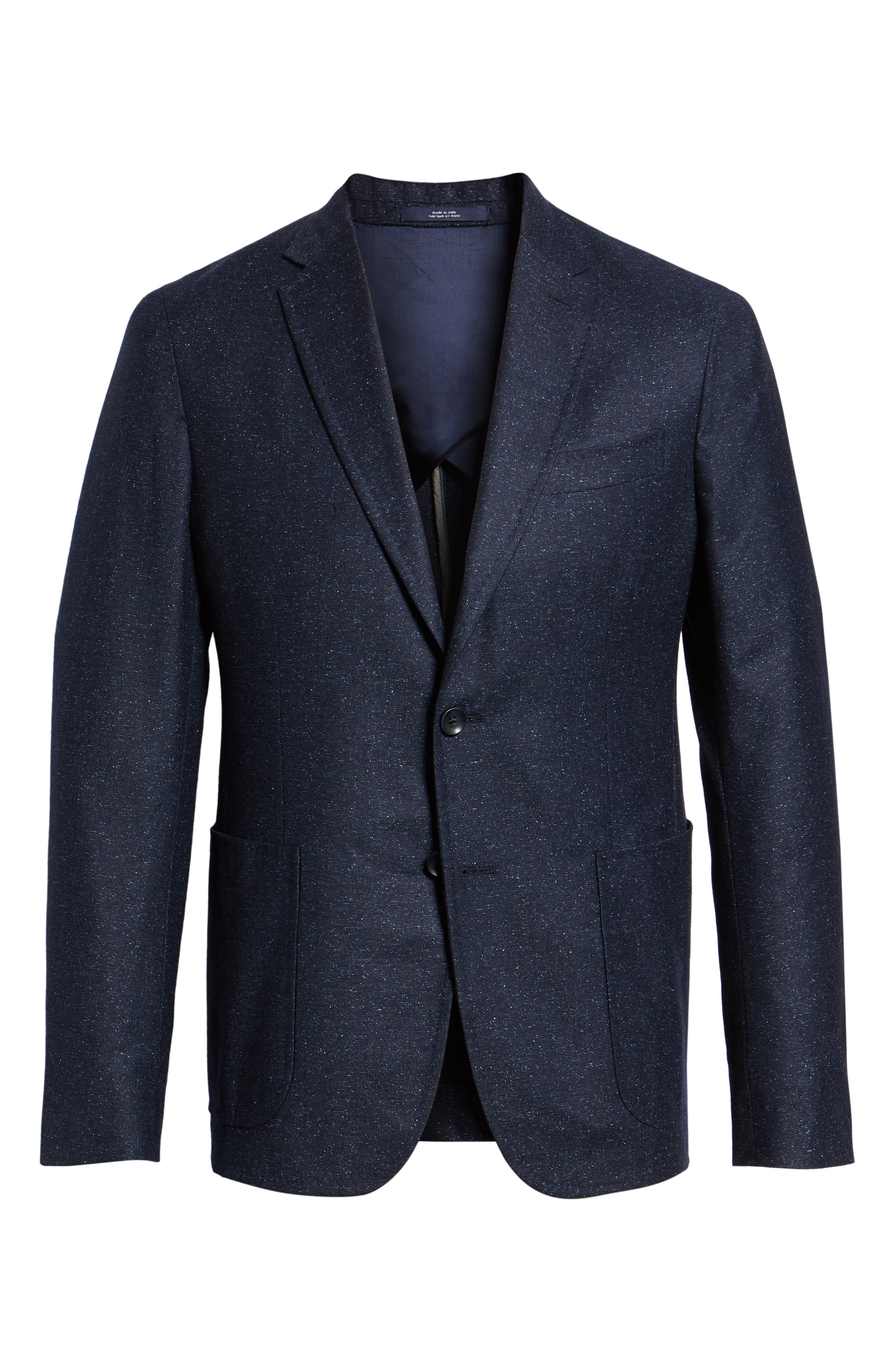 Extra Trim Fit Wool & Silk Soft Coat,                             Alternate thumbnail 5, color,                             NAVY