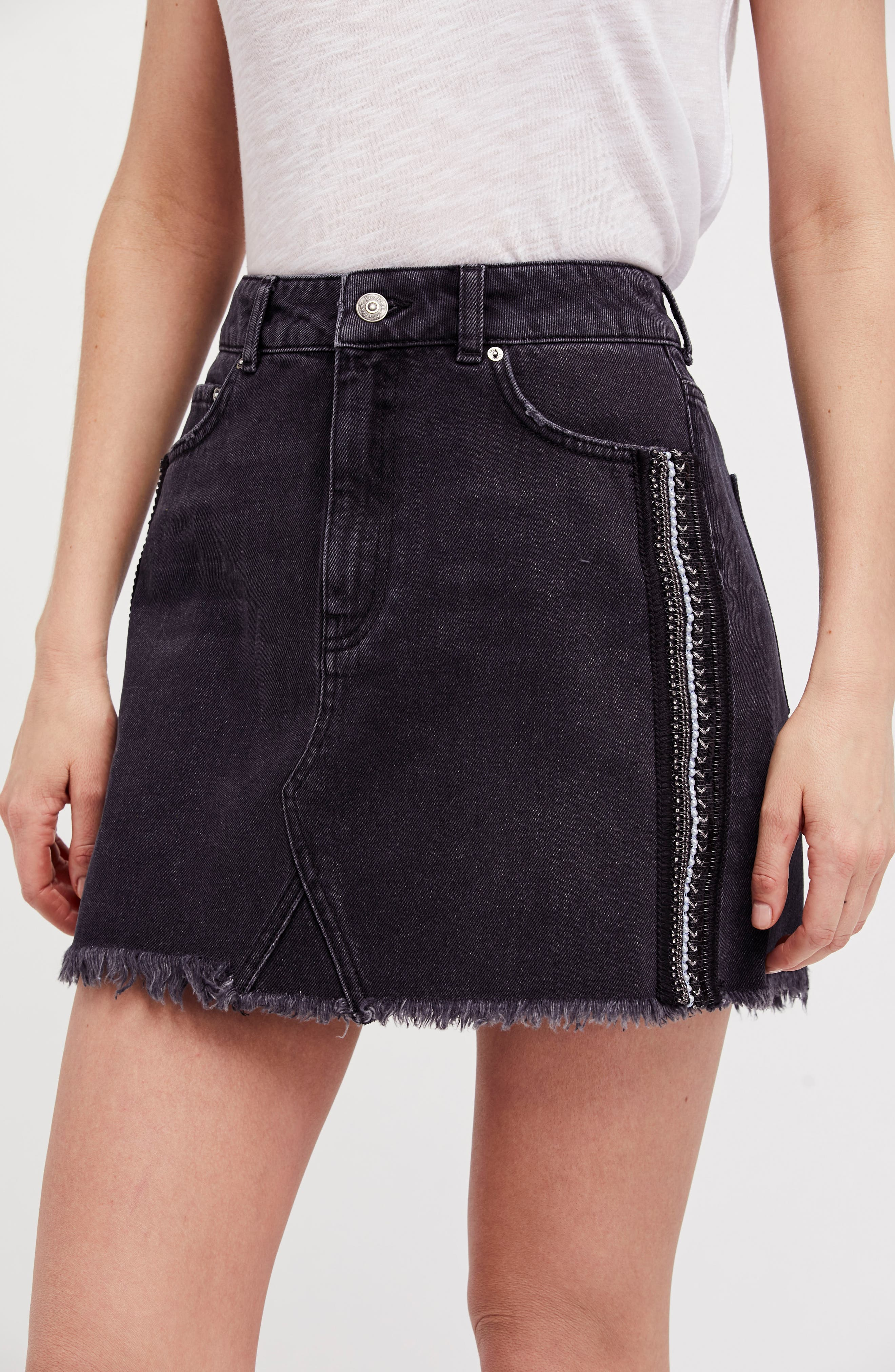 FREE PEOPLE,                             Stripe Cutoff Denim Miniskirt,                             Alternate thumbnail 7, color,                             001