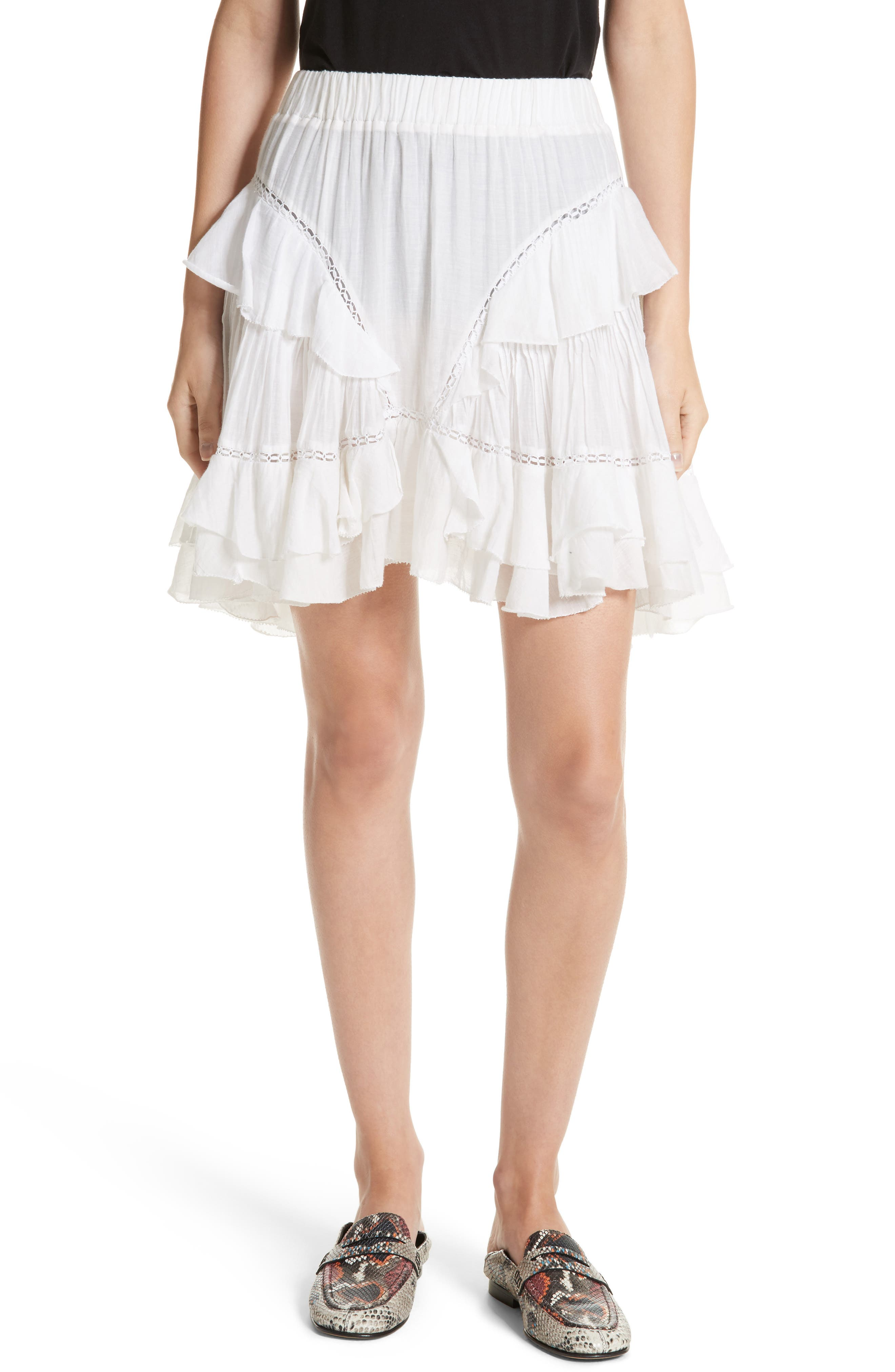 Isabel Marant Étoile Varese Ruffle Skirt,                             Main thumbnail 1, color,                             100