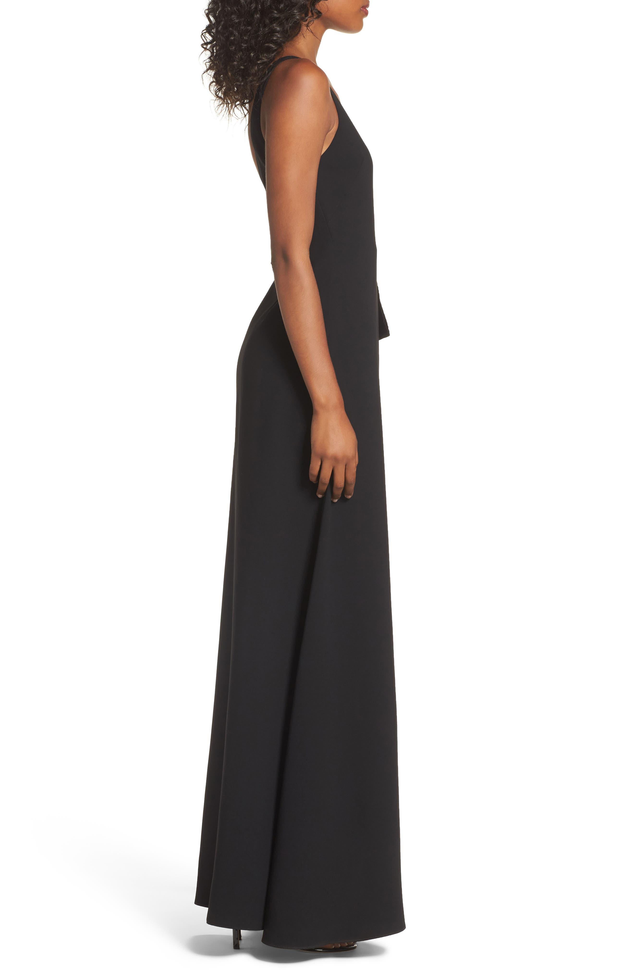 One-Shoulder Velvet Panel Gown,                             Alternate thumbnail 3, color,                             001