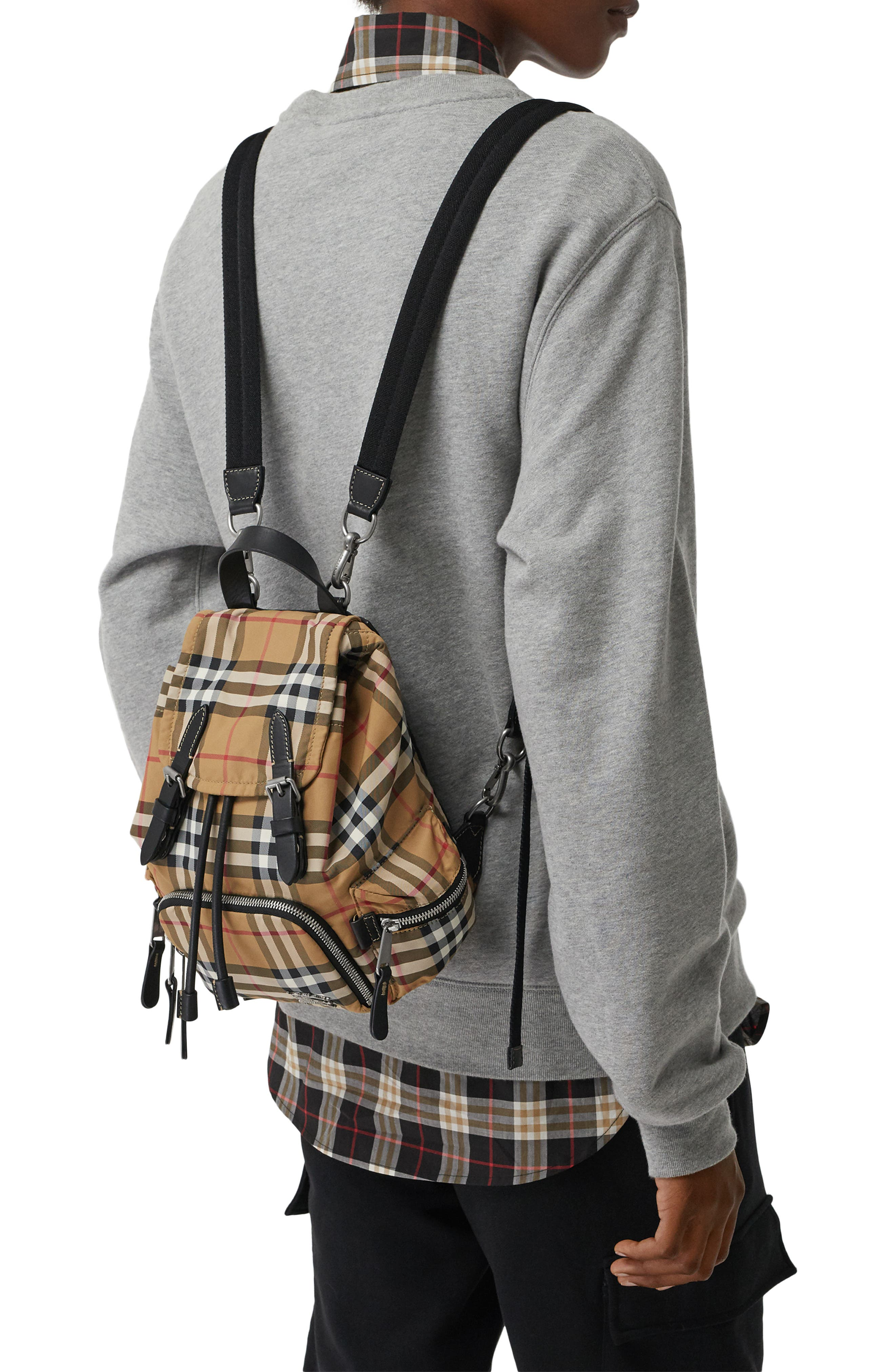 BURBERRY,                             Small Rucksack Vintage Check Nylon Backpack,                             Alternate thumbnail 2, color,                             ANTIQUE YELLOW/ BLACK