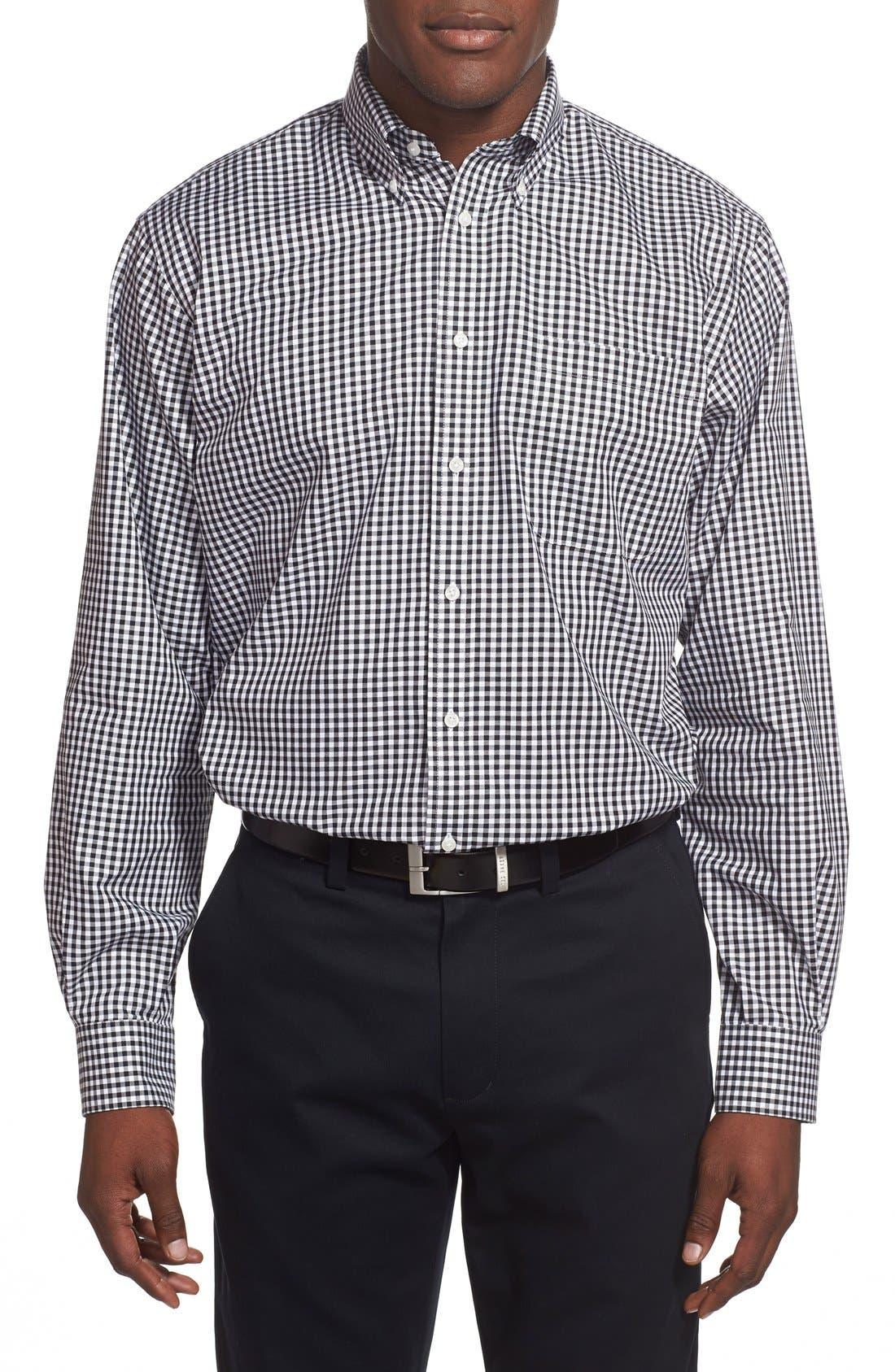 Classic Fit Non-Iron Gingham Dress Shirt,                             Alternate thumbnail 5, color,                             BLACK ROCK