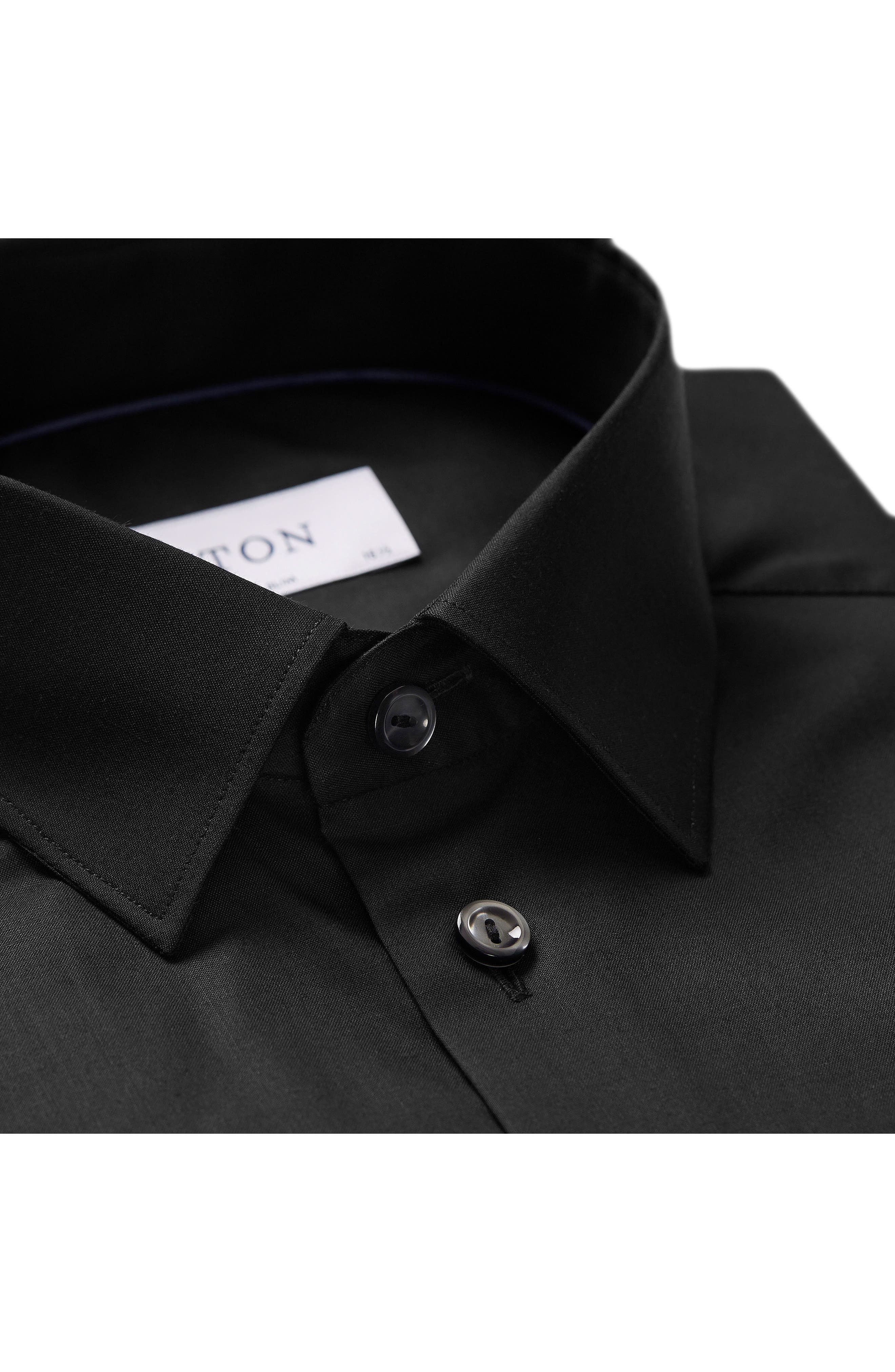 Super Slim Fit Solid Dress Shirt,                             Alternate thumbnail 3, color,                             BLACK